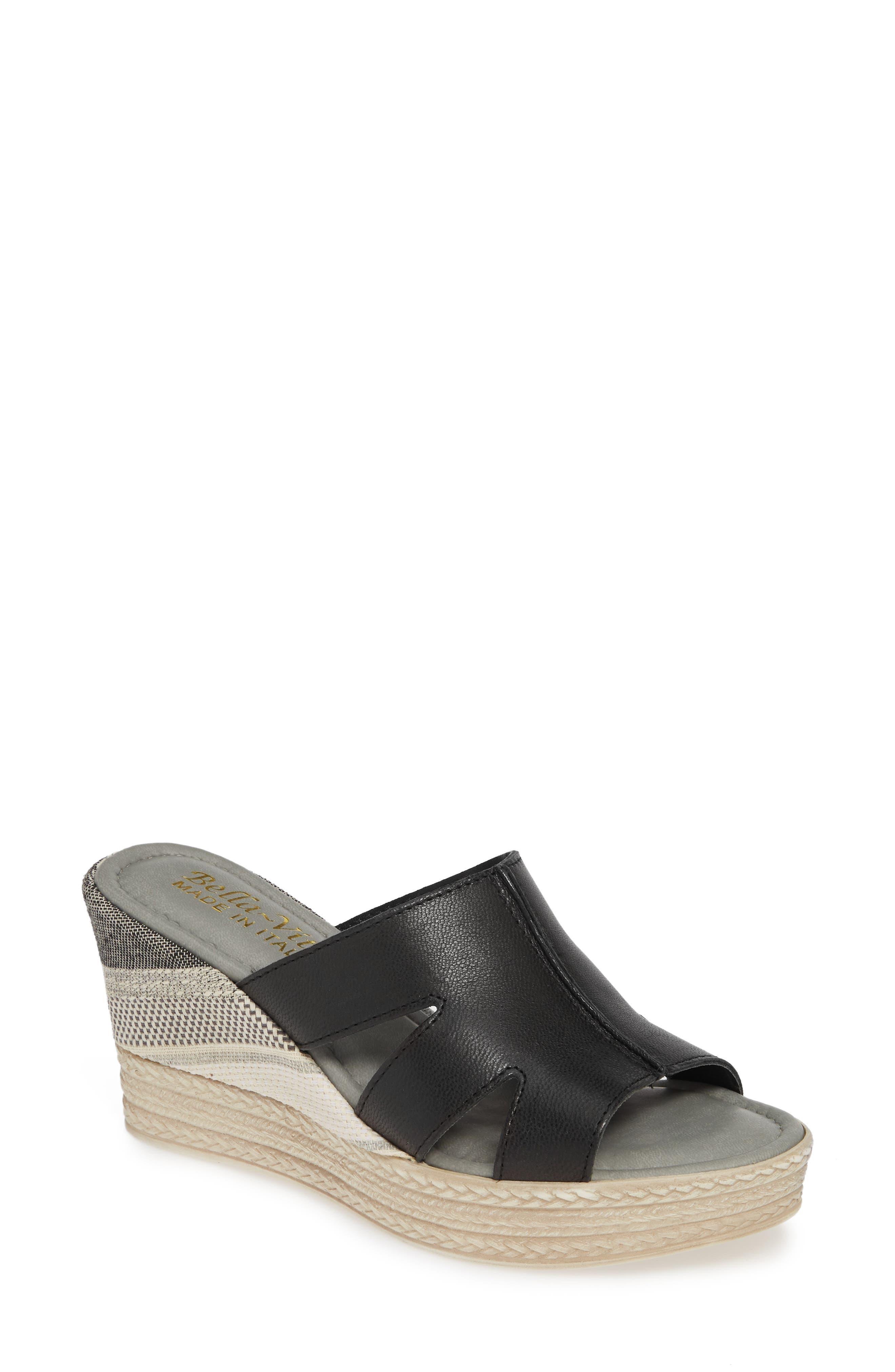 BELLA VITA, Rox Wedge Slide Sandal, Main thumbnail 1, color, BLACK ITALIAN LEATHER