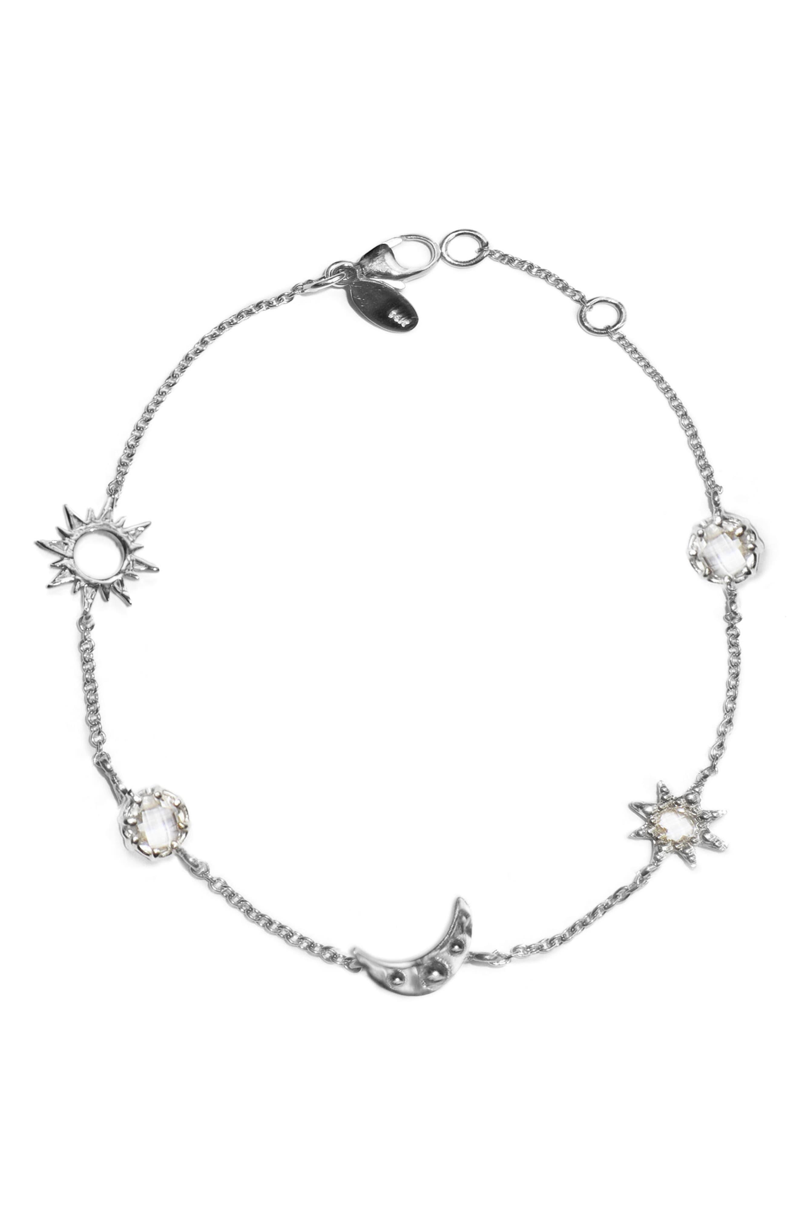 ANZIE Starburst Celestial White Topaz Charm Bracelet, Main, color, SILVER