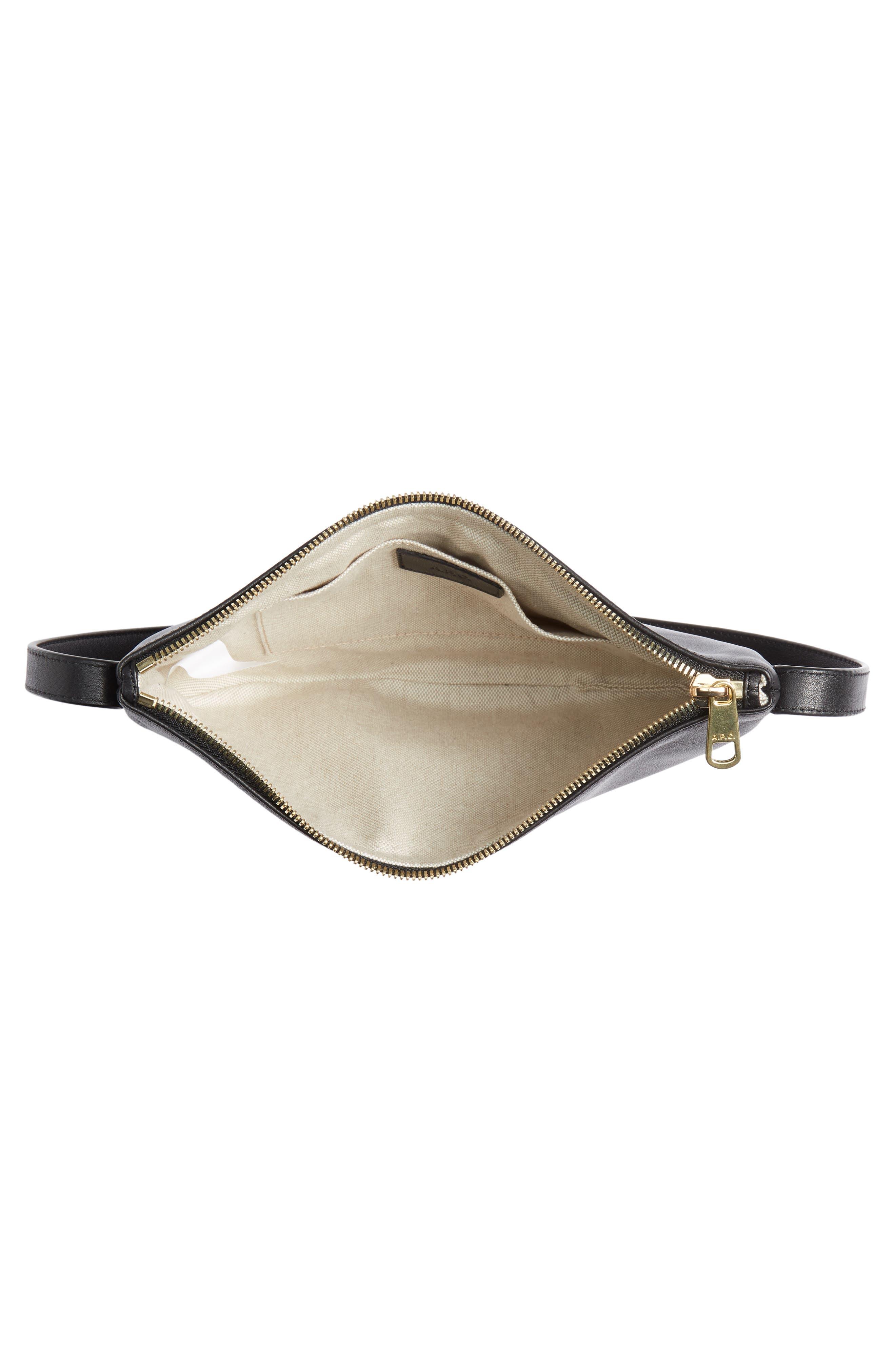 A.P.C., Sac Maelys Leather Crossbody Bag, Alternate thumbnail 5, color, LZZ NOIR