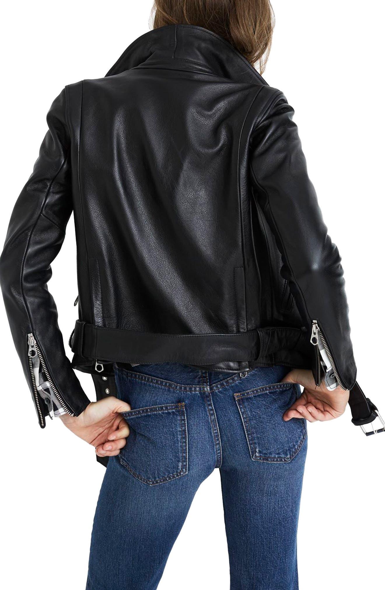 MADEWELL, Ultimate Leather Jacket, Alternate thumbnail 2, color, TRUE BLACK