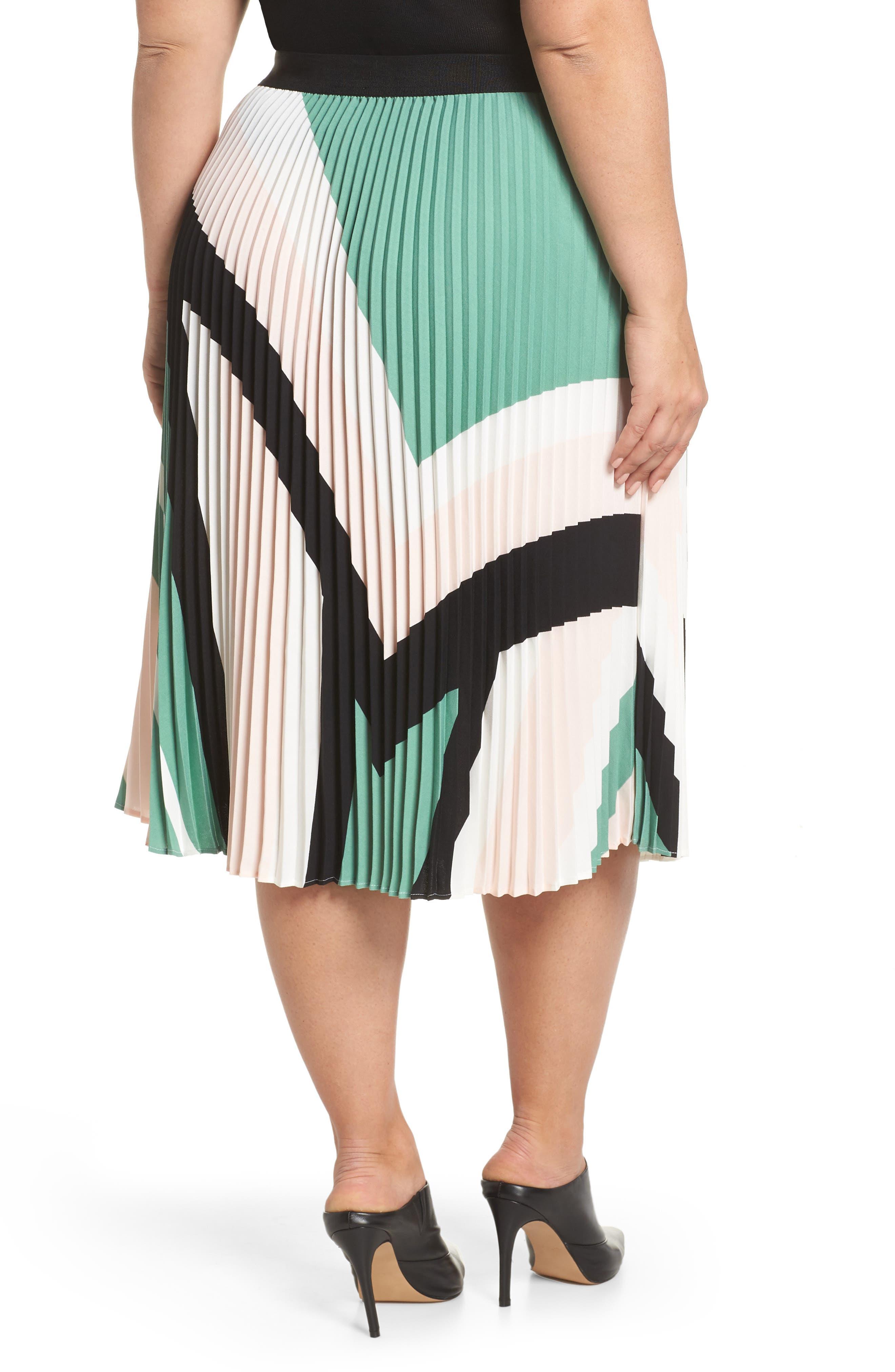 LEITH, Pleated Midi Skirt, Alternate thumbnail 8, color, PINK CHINTZ TRIANGLE STRIPE