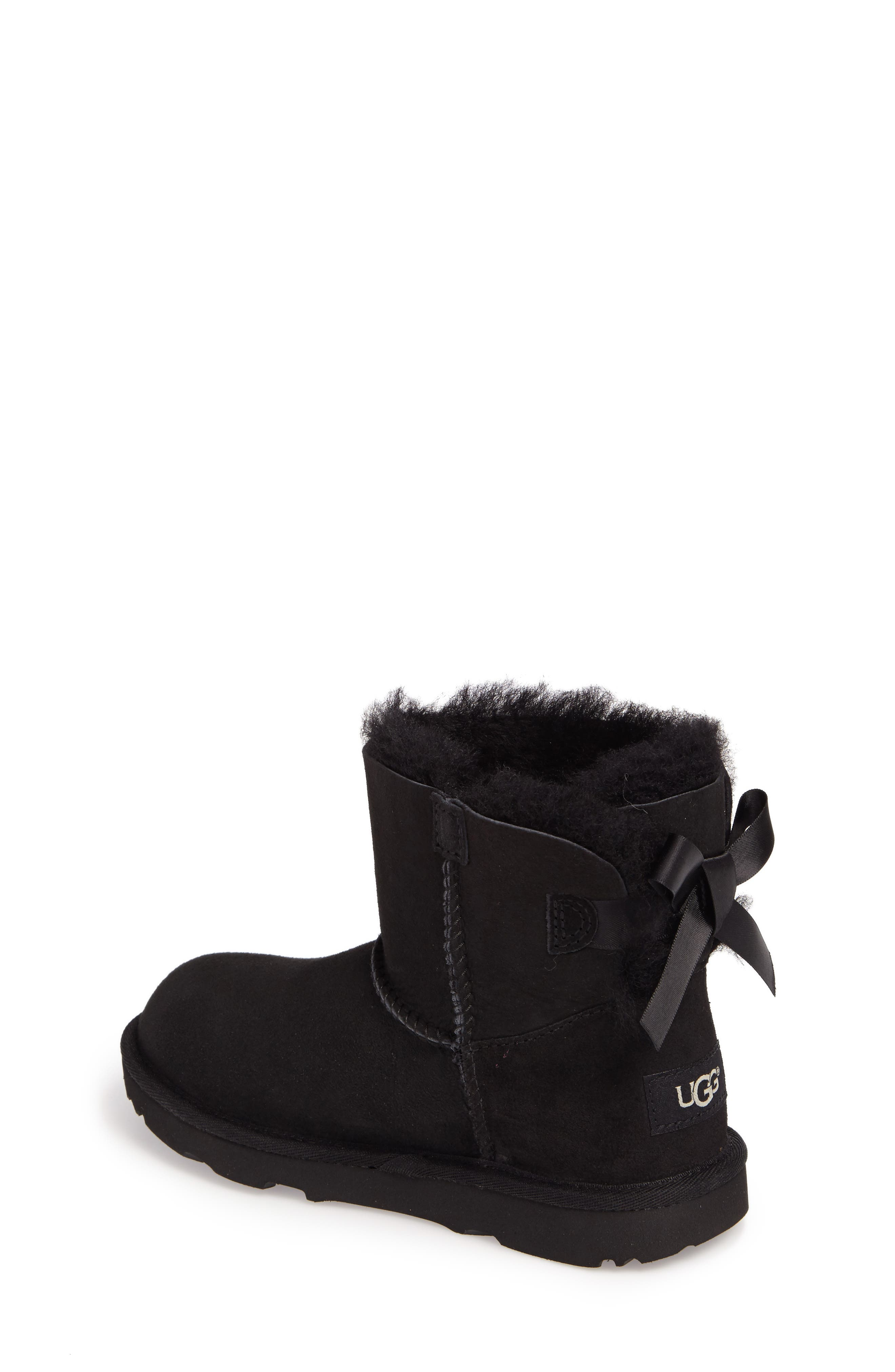UGG<SUP>®</SUP>, Mini Bailey Bow II Water Resistant Boot, Alternate thumbnail 2, color, BLACK