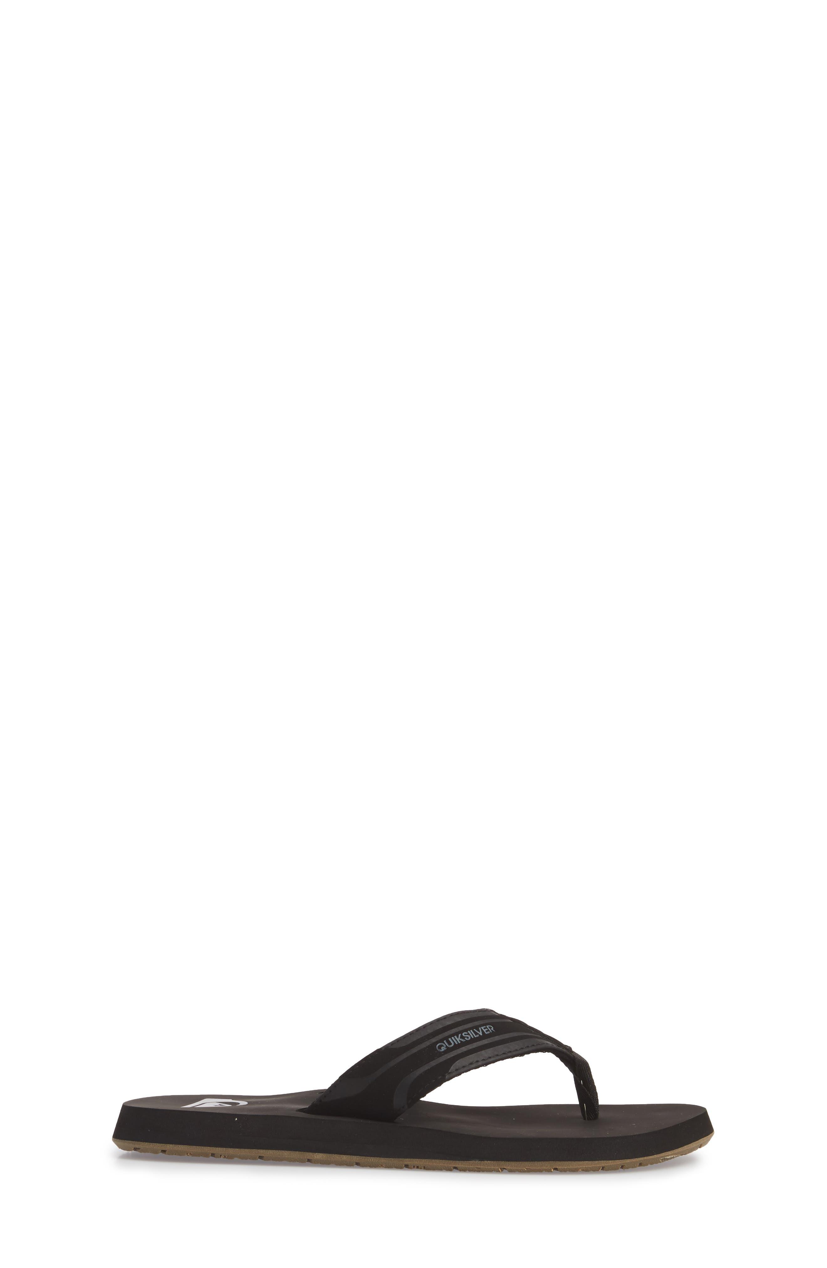 QUIKSILVER, Monkey Wrench Flip Flop, Alternate thumbnail 3, color, BLACK/ BROWN