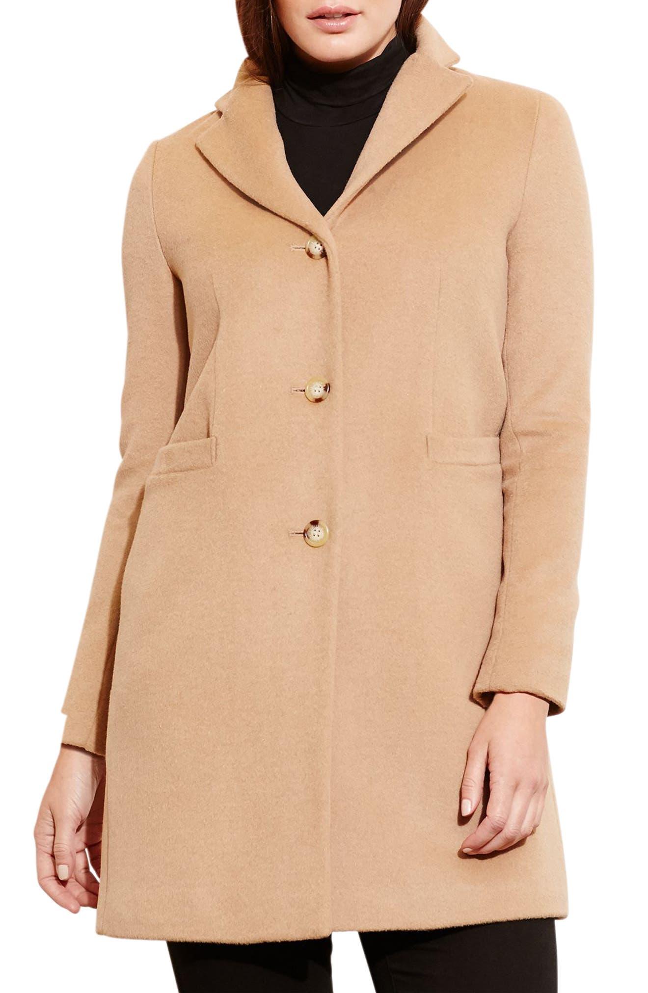 LAUREN RALPH LAUREN Wool Blend Reefer Coat, Main, color, CAMEL