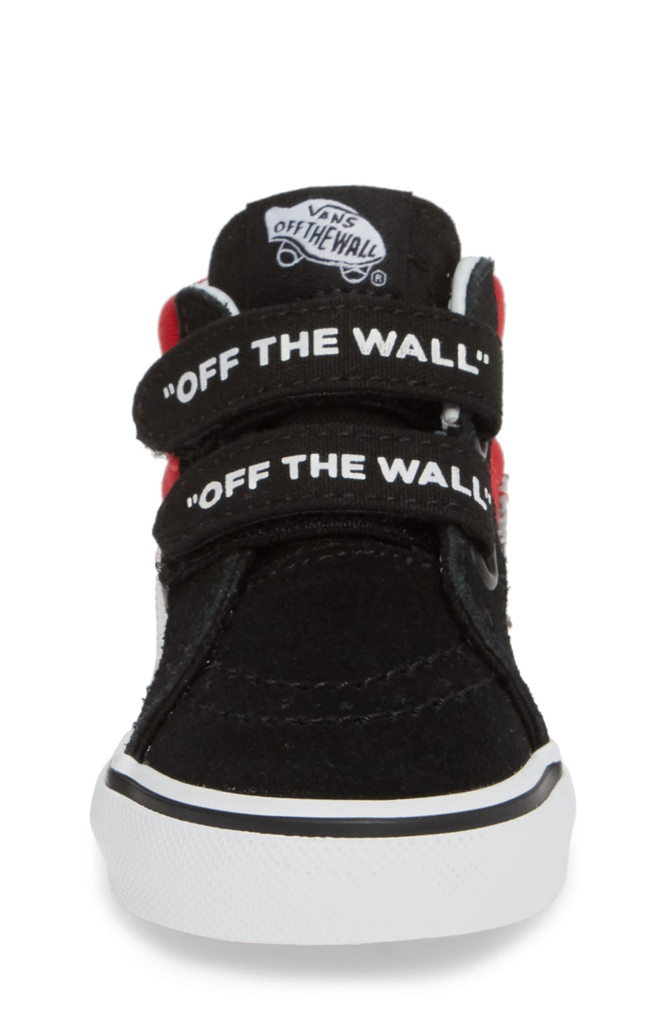 VANS, 'Sk8-Mid Reissue' Sneaker, Alternate thumbnail 4, color, BLACK/ RED / WHITE