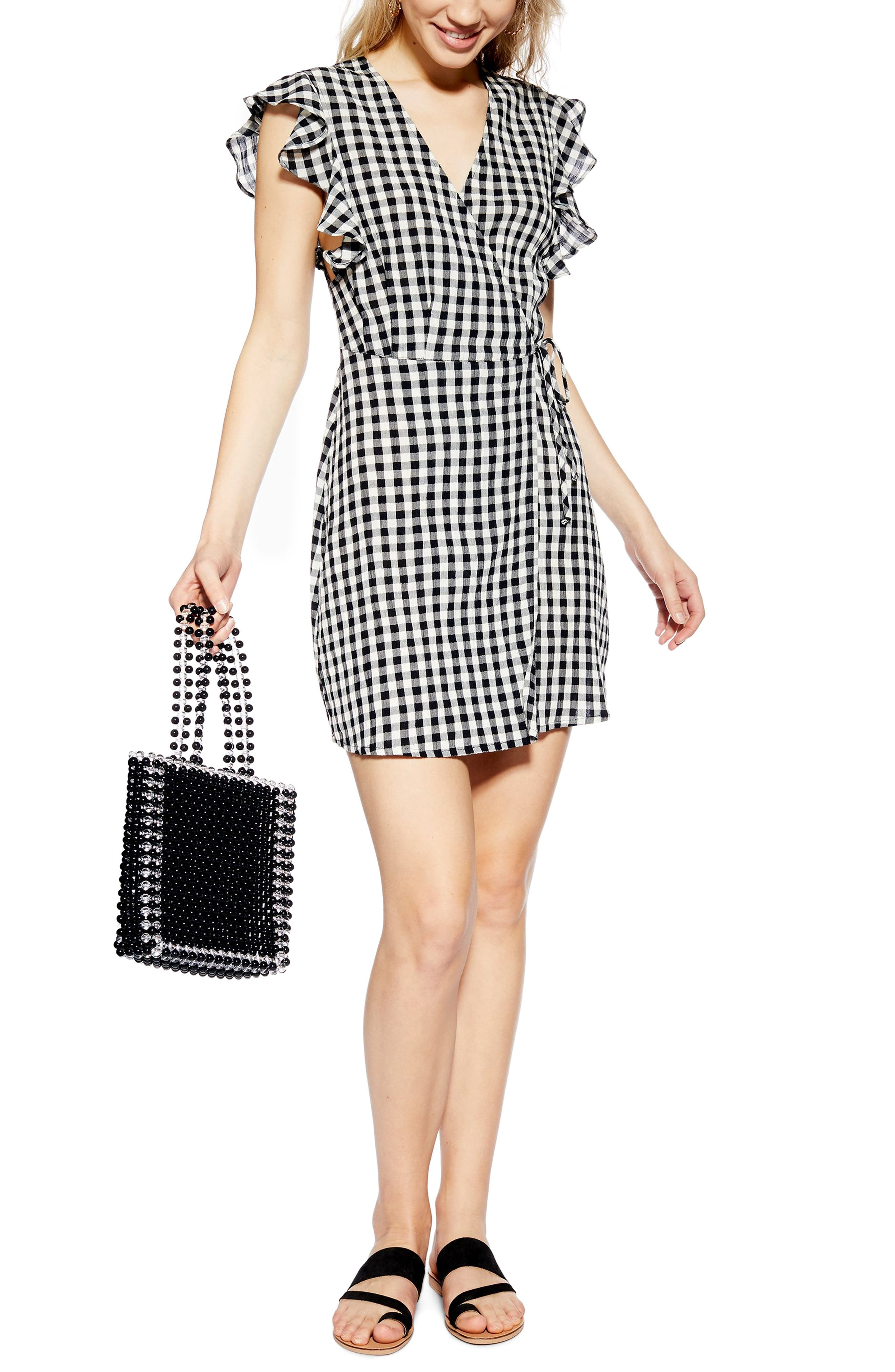 TOPSHOP Gingham Ruffle Wrap Dress, Main, color, BLACK MULTI