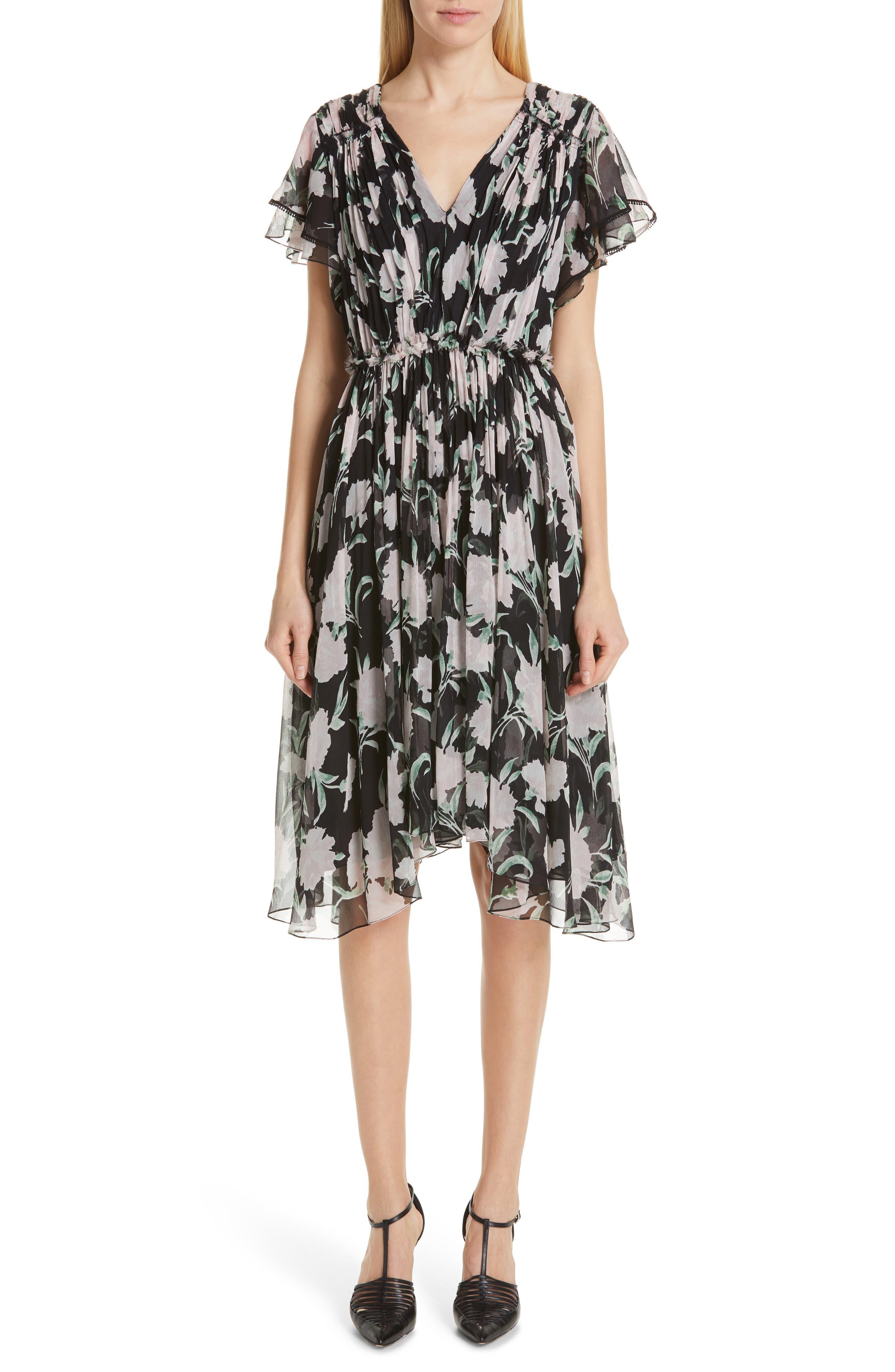 Jason Wu Collection Floral Print Chiffon Dress, Pink