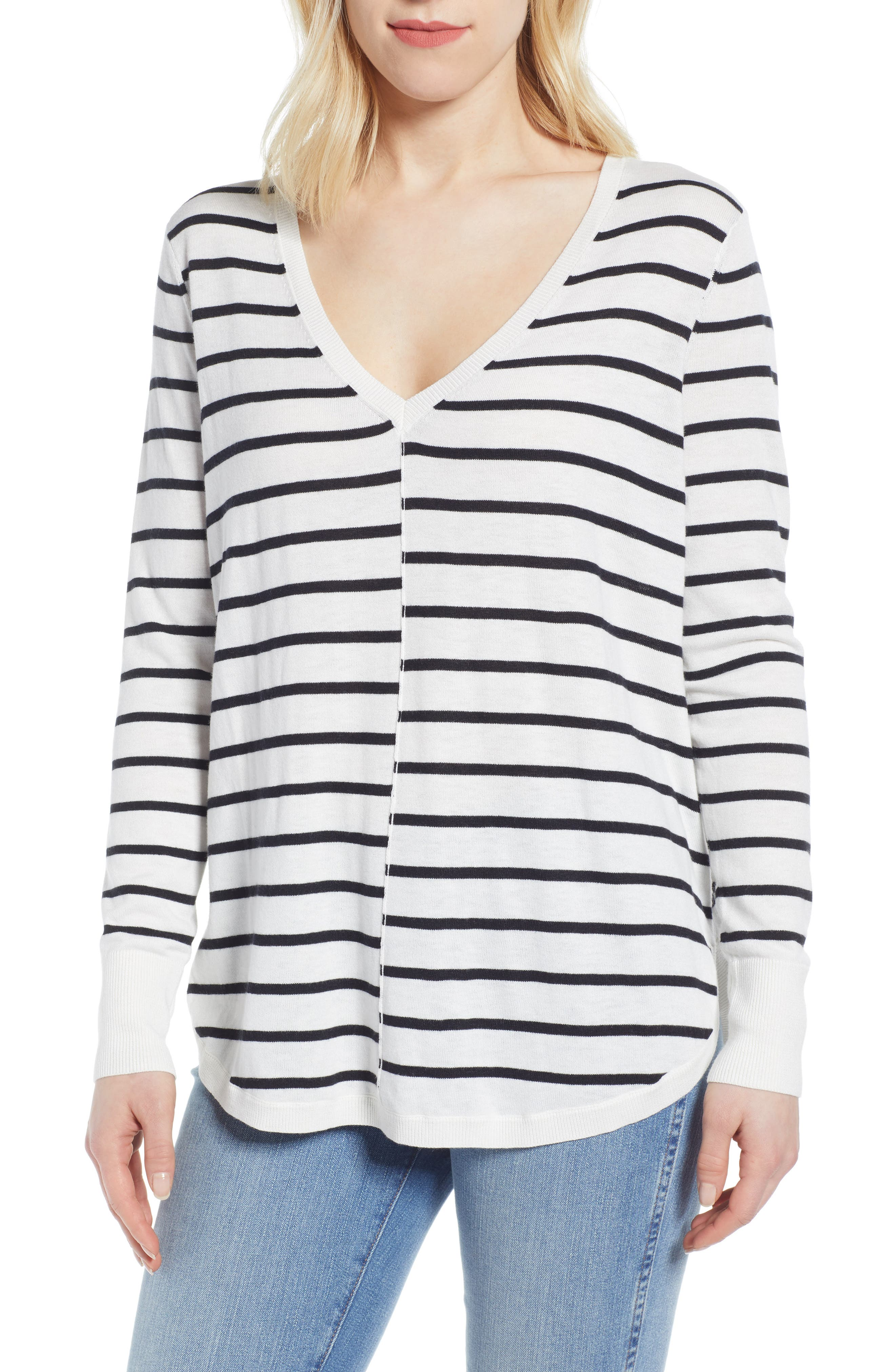 CASLON<SUP>®</SUP> High-Low V-neck Sweater, Main, color, IVORY- BLACK PRITHI STRIPE