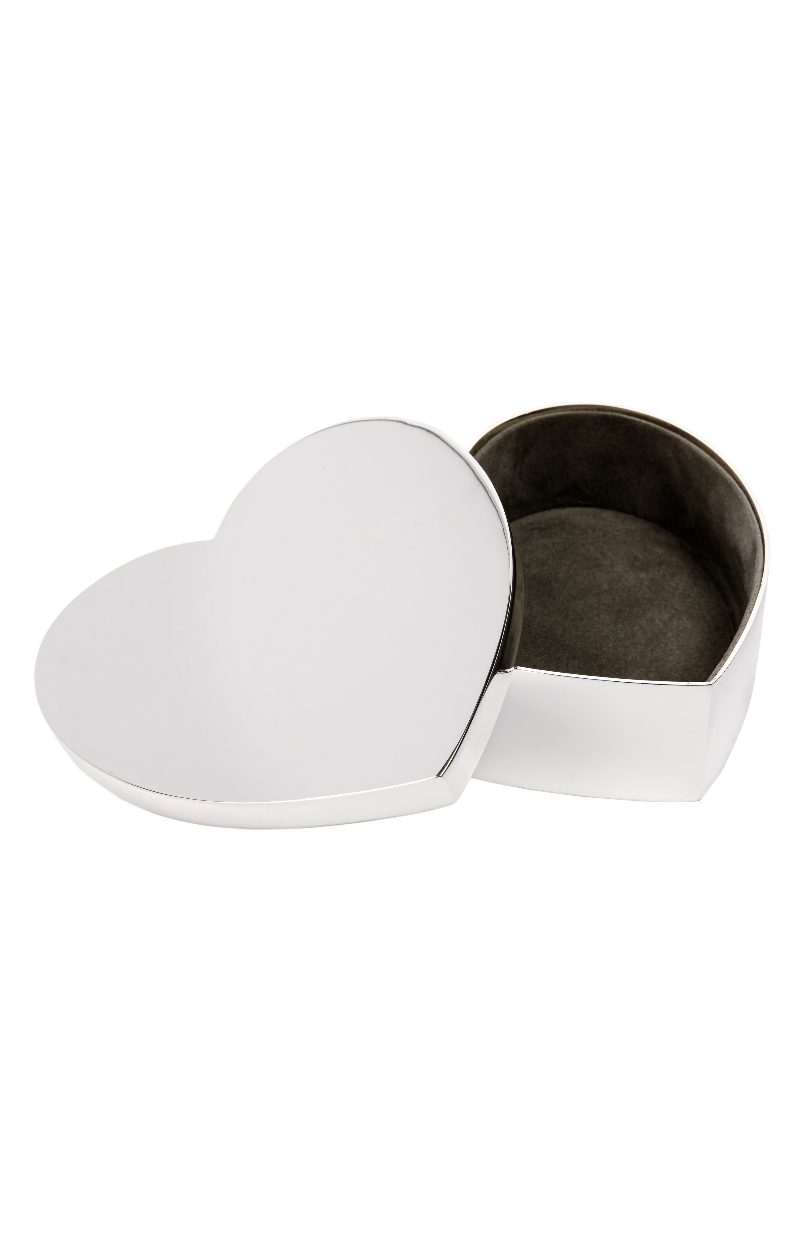 THE WHITE COMPANY Silver Plated Heart Box, Main, color, SILVER