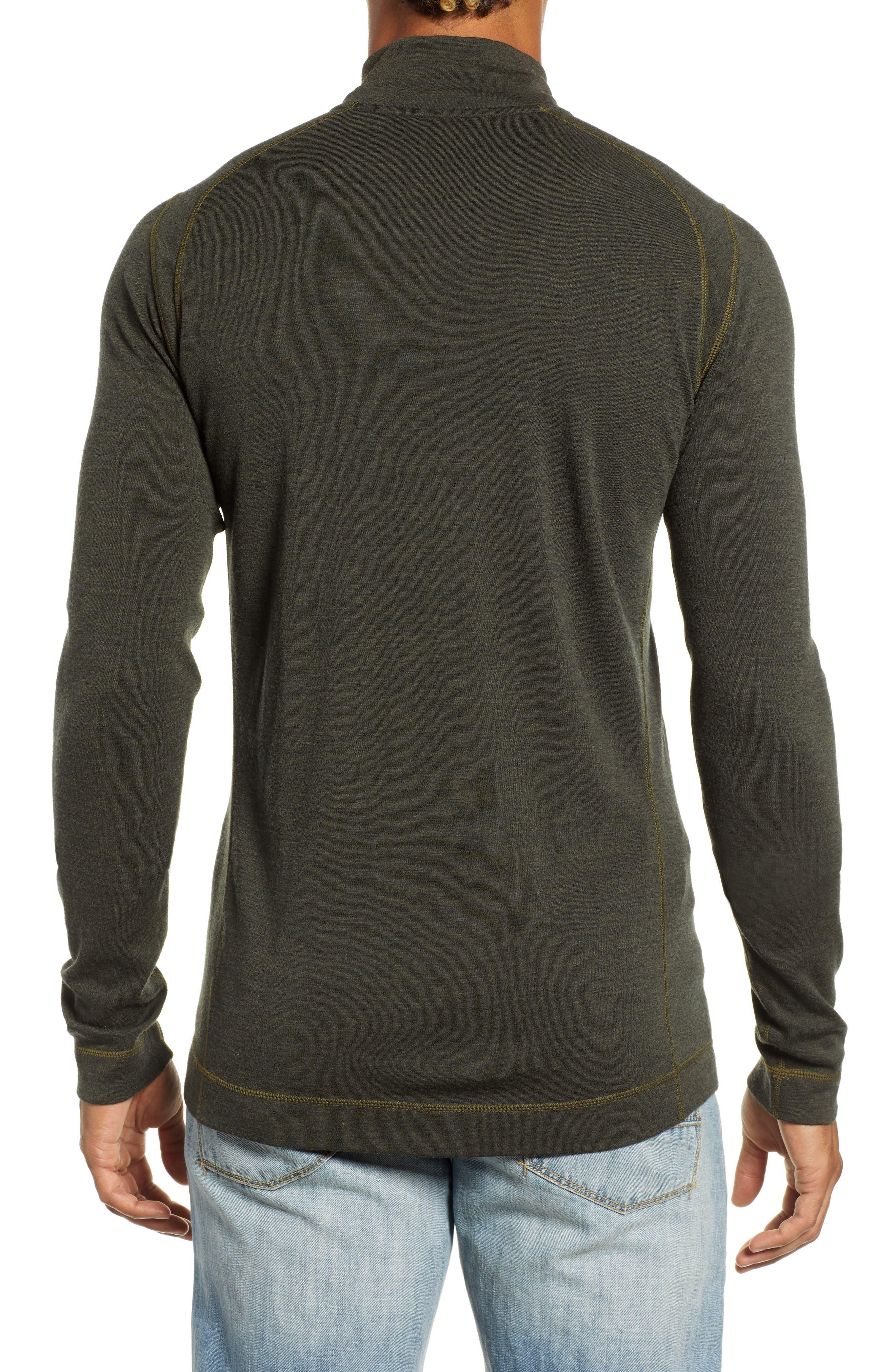 SMARTWOOL, Merino 250 Base Layer Quarter Zip Pullover, Alternate thumbnail 2, color, OLIVE HEATHER
