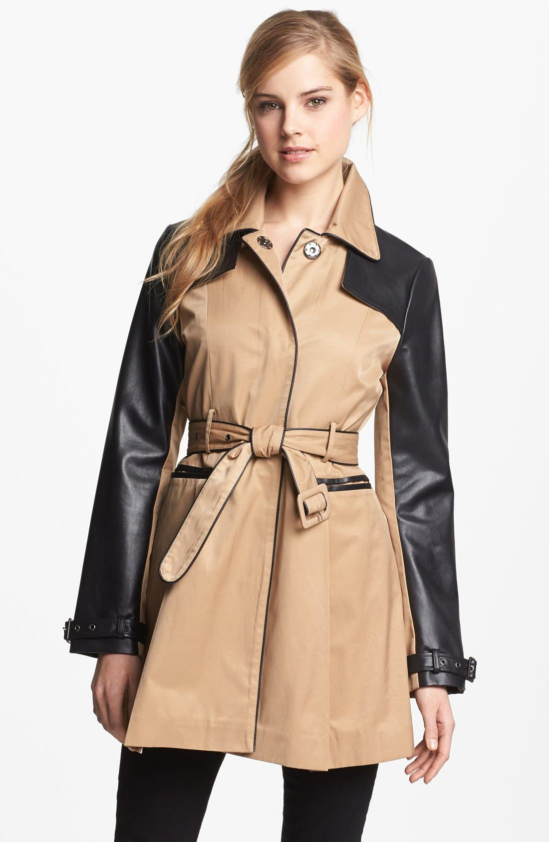 BEBE, Faux Leather Trim Trench Coat, Alternate thumbnail 3, color, 250