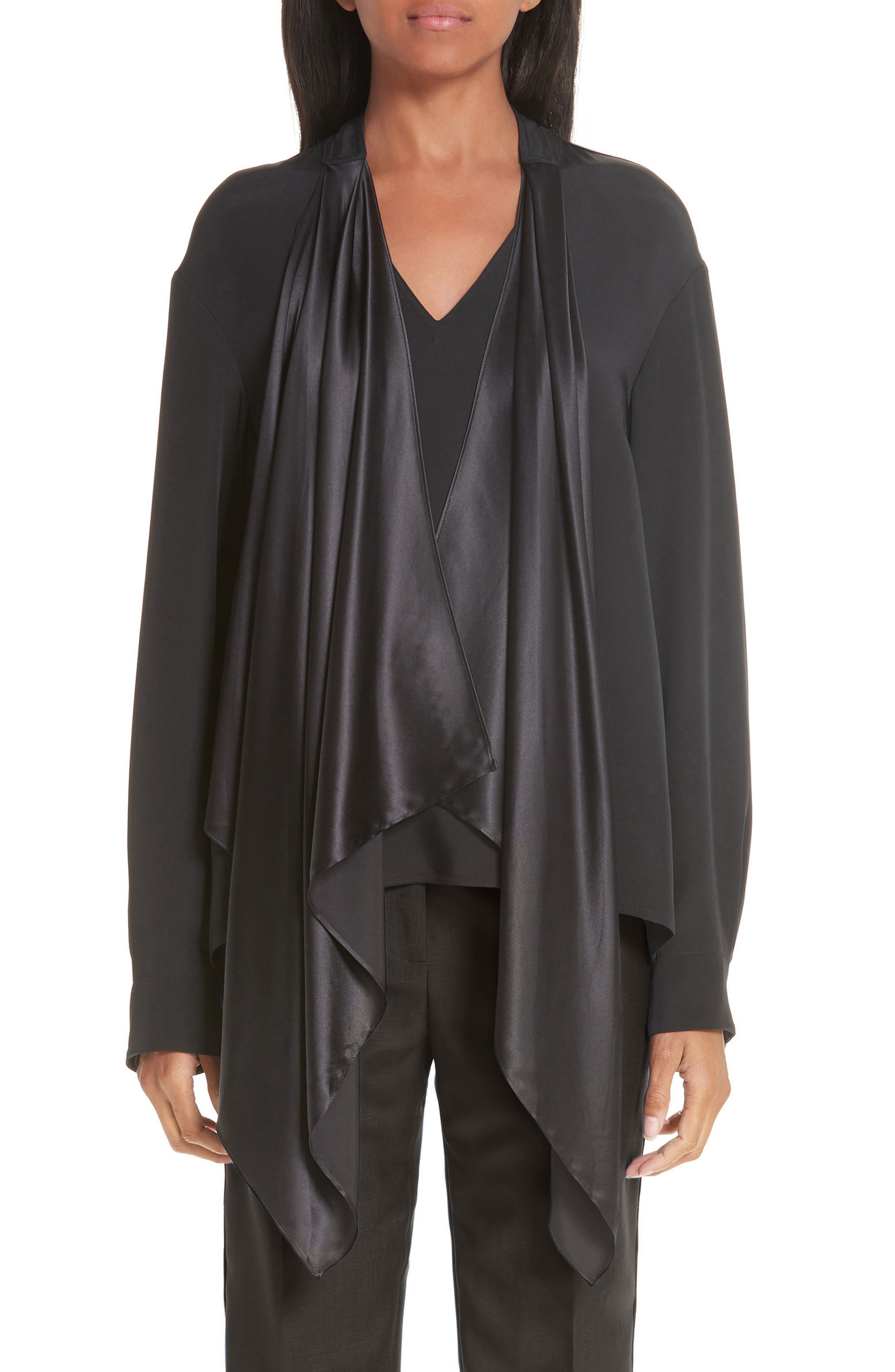 CALVIN KLEIN 205W39NYC, Satin Tie Neck Silk Blouse, Main thumbnail 1, color, BLACK