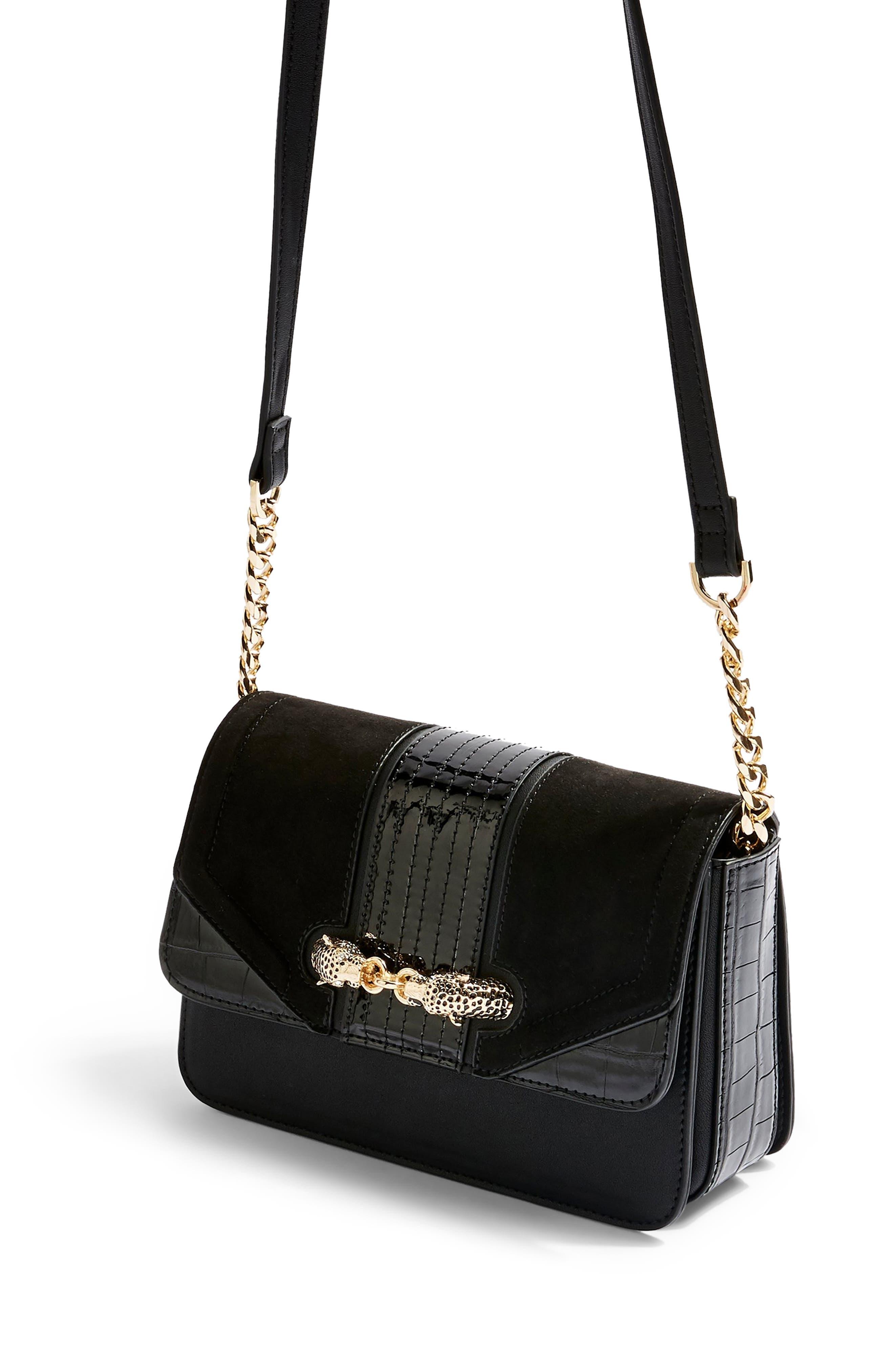 TOPSHOP, Cheetah Crossbody Bag, Alternate thumbnail 4, color, BLACK MULTI