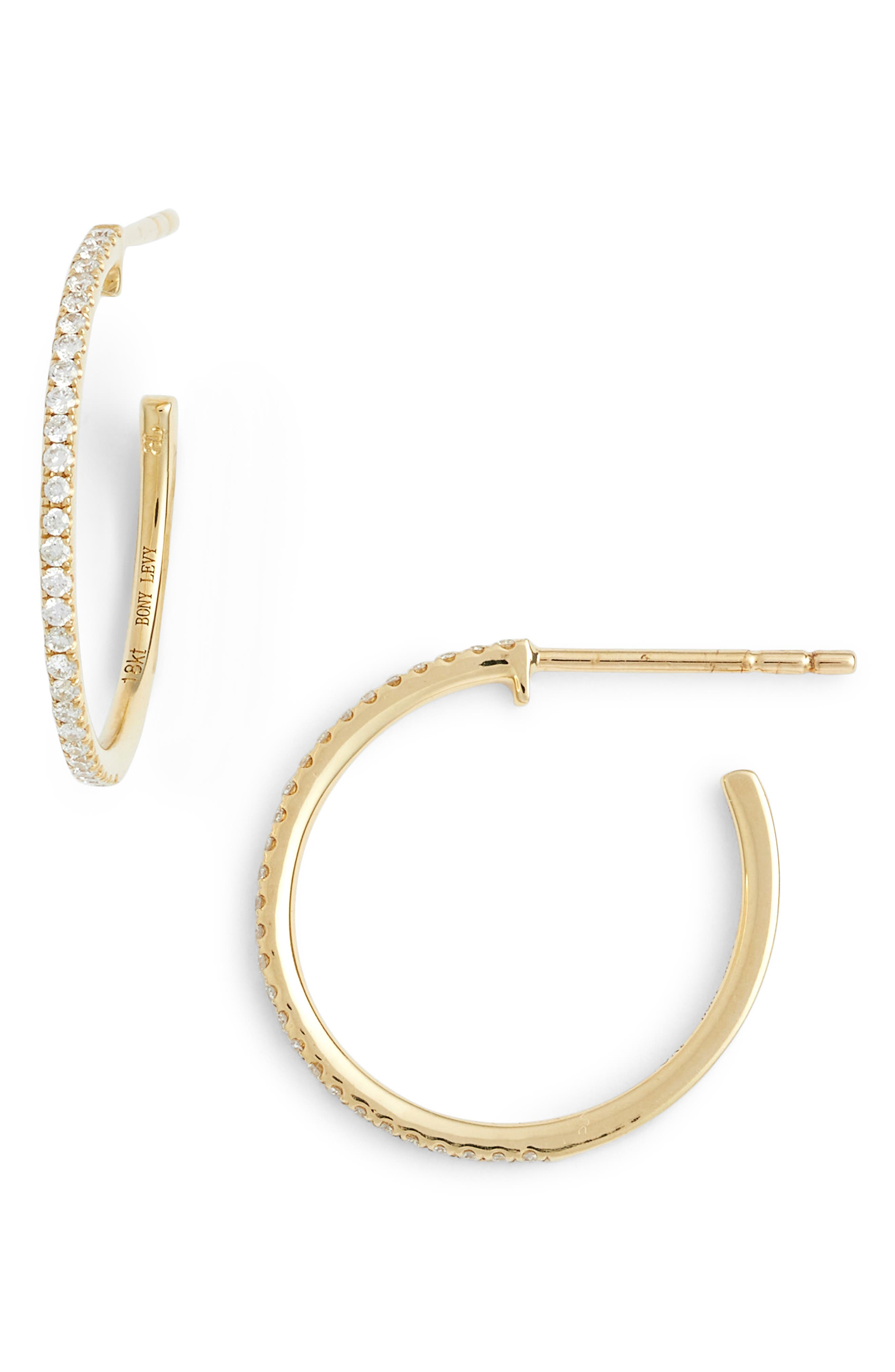 BONY LEVY Small Diamond Hoop Earrings, Main, color, YELLOW GOLD
