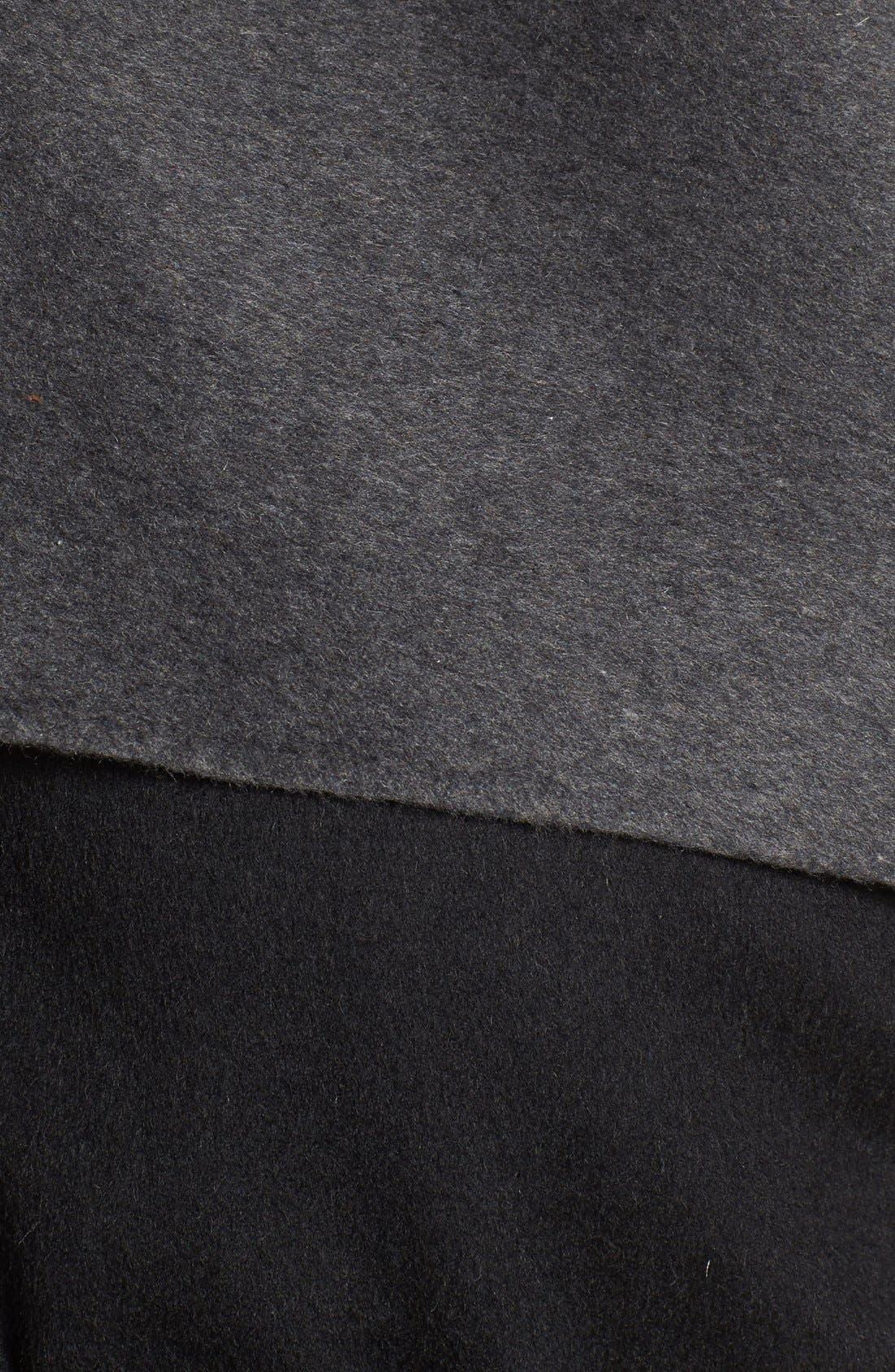 MACKAGE, Leather Sleeve Wool Blend Wrap Coat, Alternate thumbnail 5, color, 001