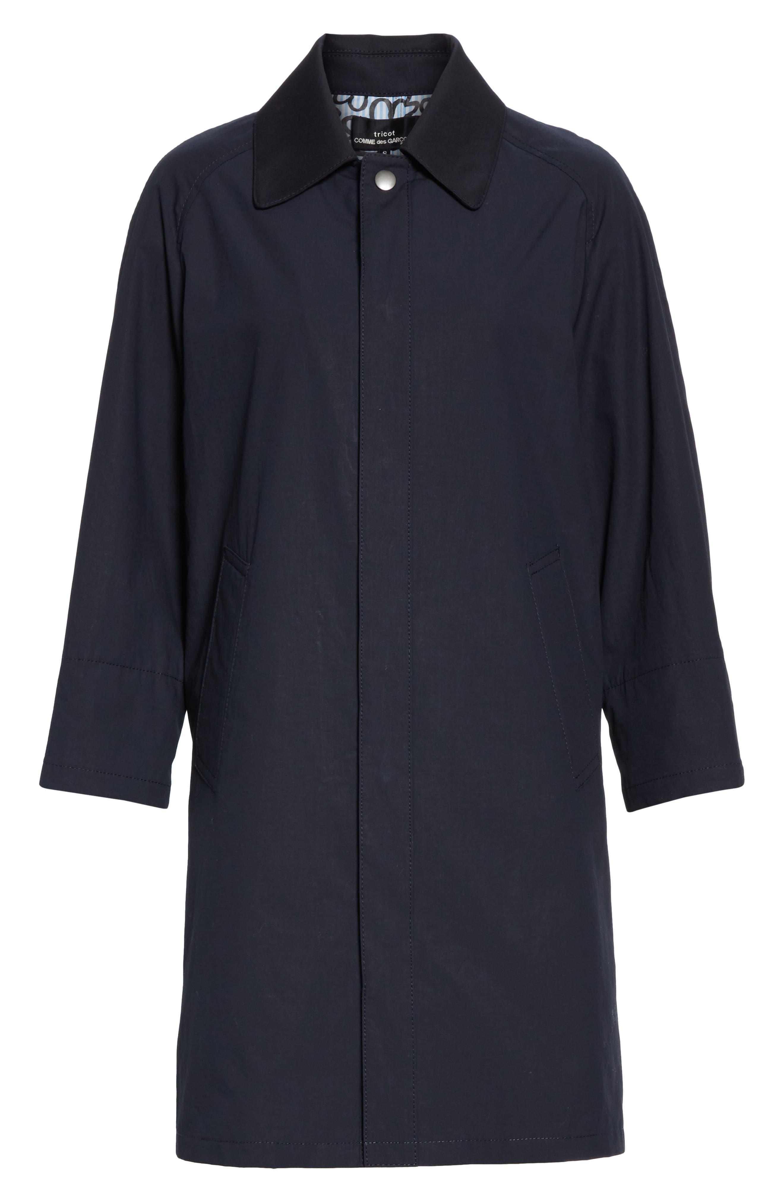 TRICOT COMME DES GARÇONS, Wool Cab Coat with Print Lining, Alternate thumbnail 5, color, NAVY