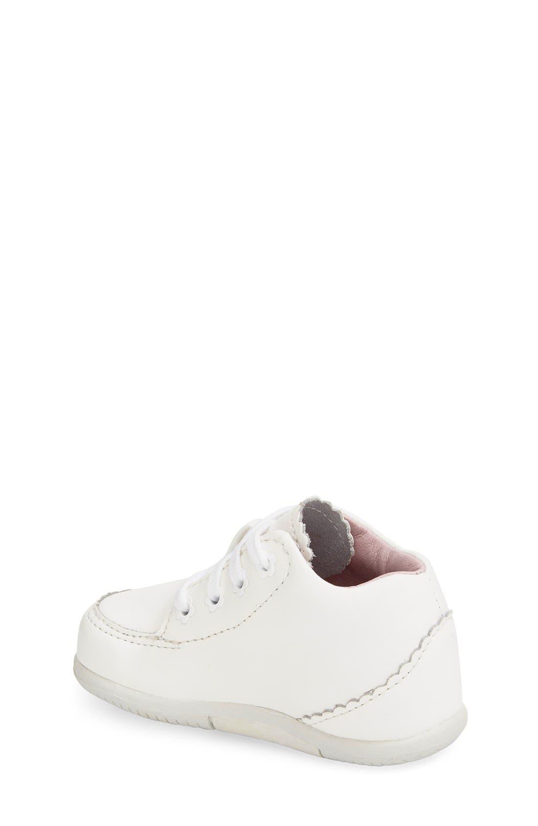 STRIDE RITE, 'Emilia' Leather Boot, Alternate thumbnail 2, color, WHITE