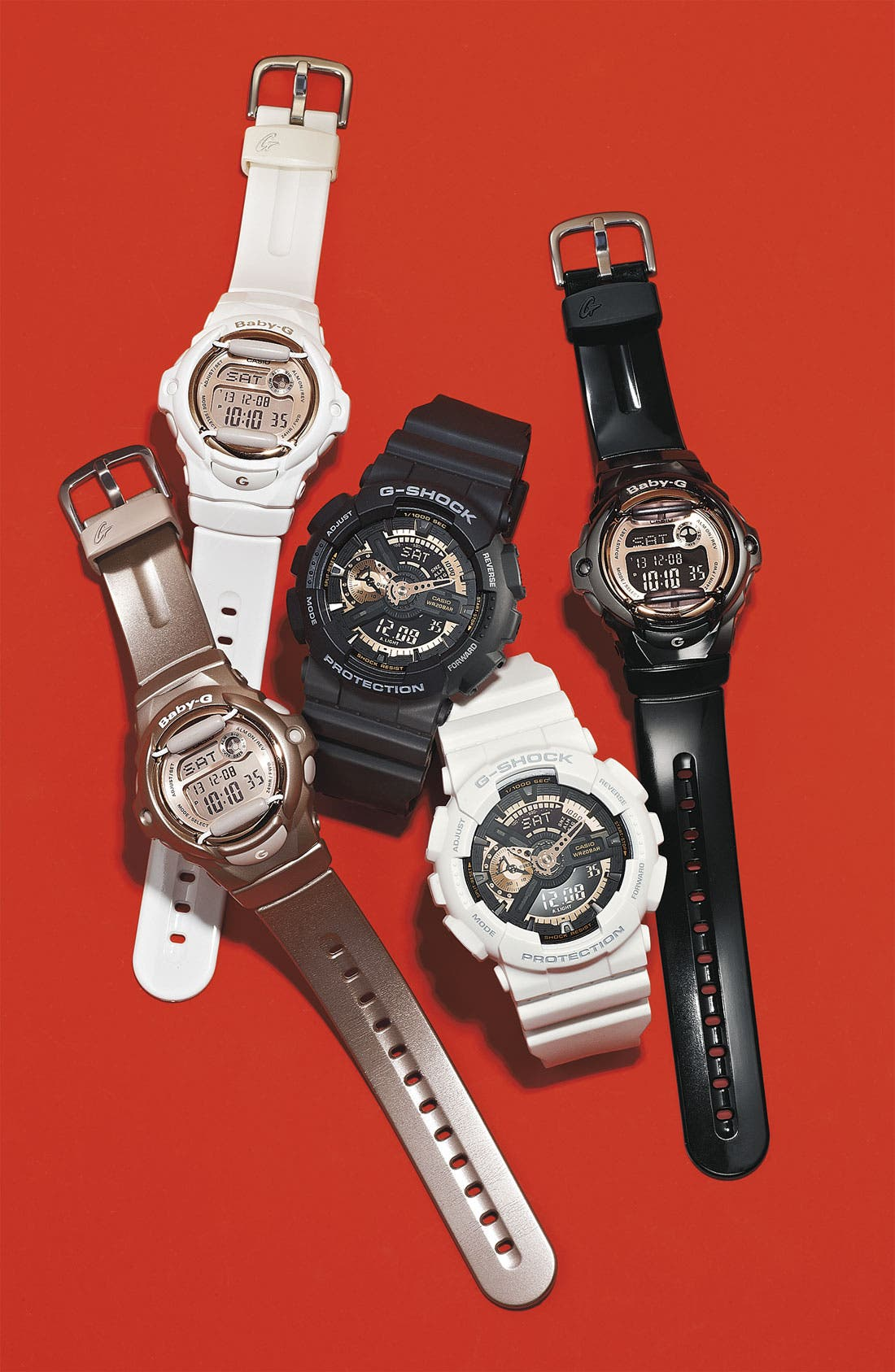G-SHOCK BABY-G, G-Shock 'X-Large' Rose Gold Dial Watch, 55mm, Alternate thumbnail 7, color, BLACK/ ROSEGOLD