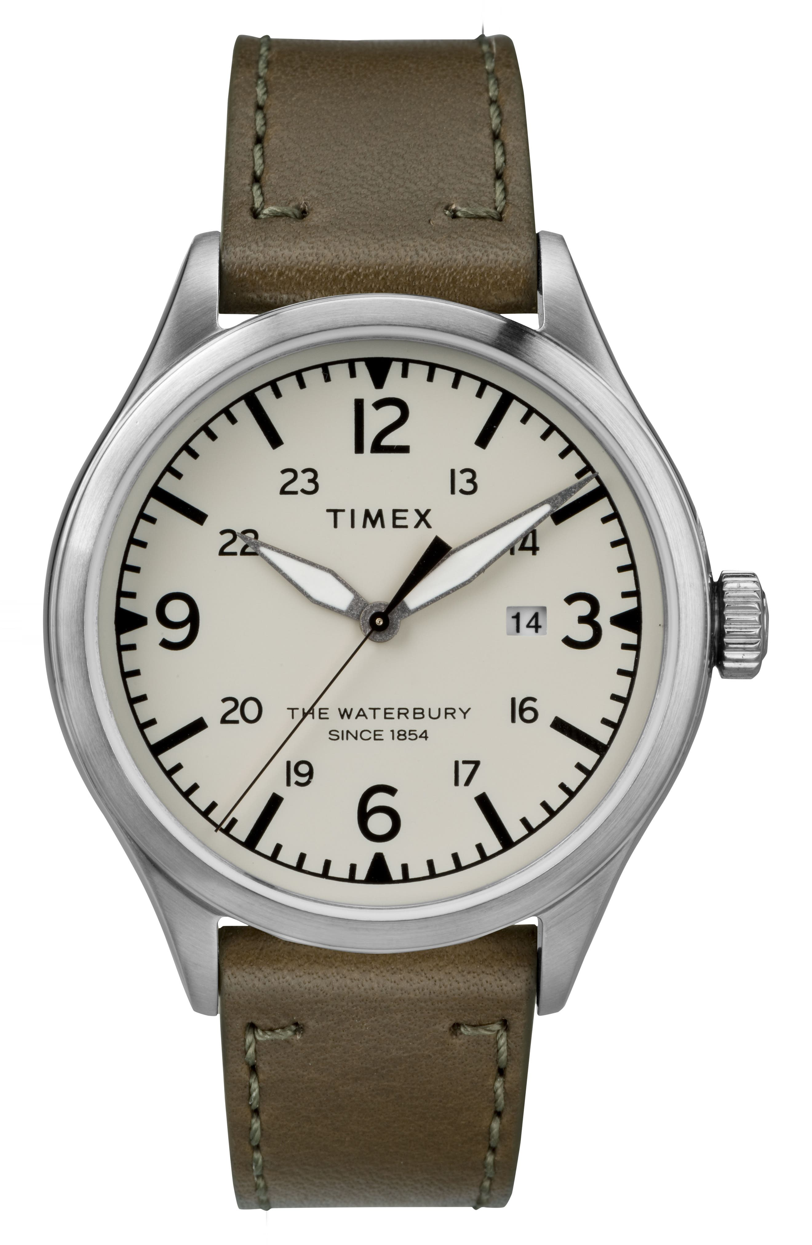 TIMEX<SUP>®</SUP>, Timex Waterbury Leather Strap Watch, 40mm, Main thumbnail 1, color, OLIVE/ CREAM/ SILVER