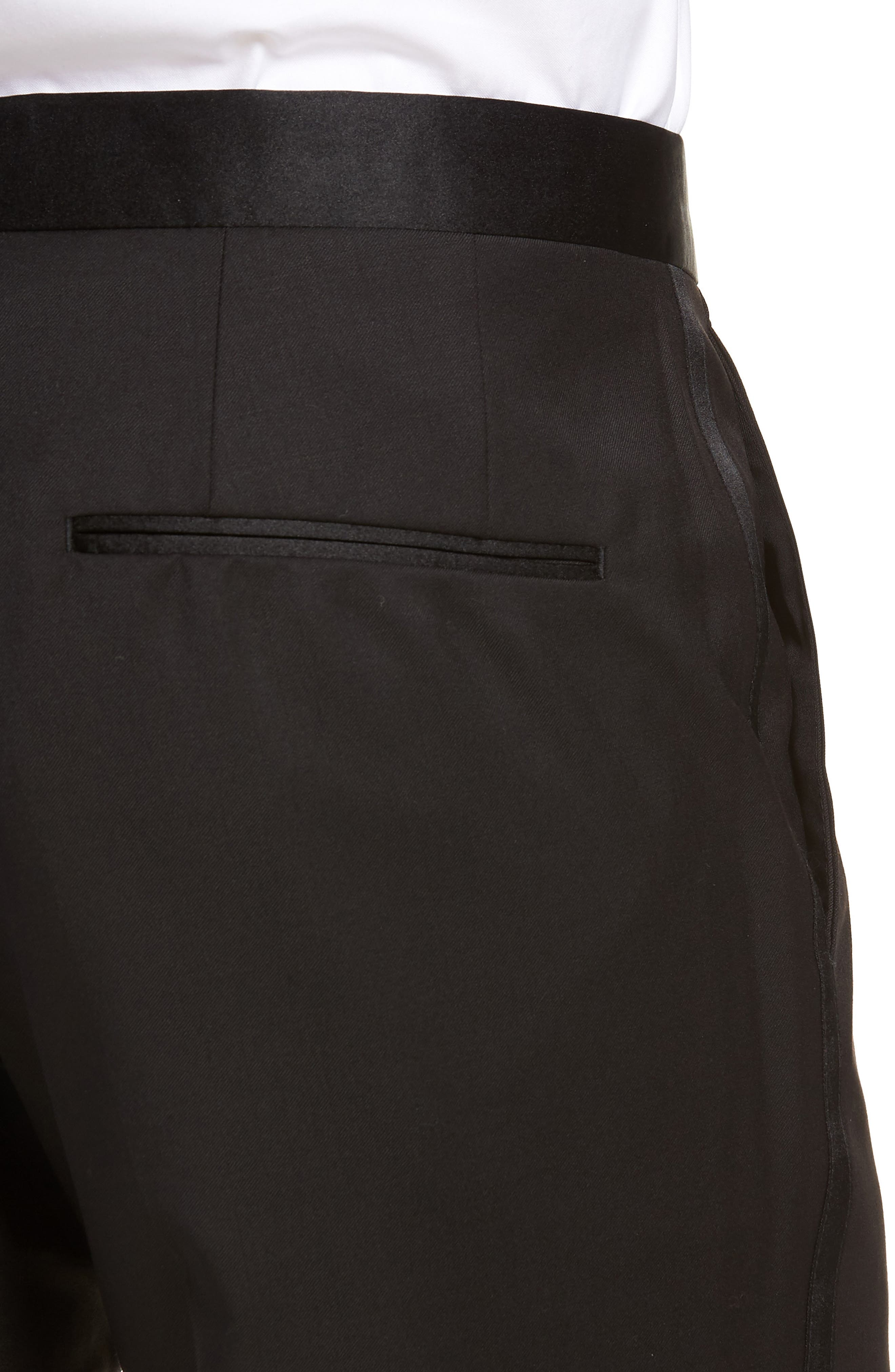 BOSS, Gilan CYL Flat Front Wool Trousers, Alternate thumbnail 4, color, BLACK