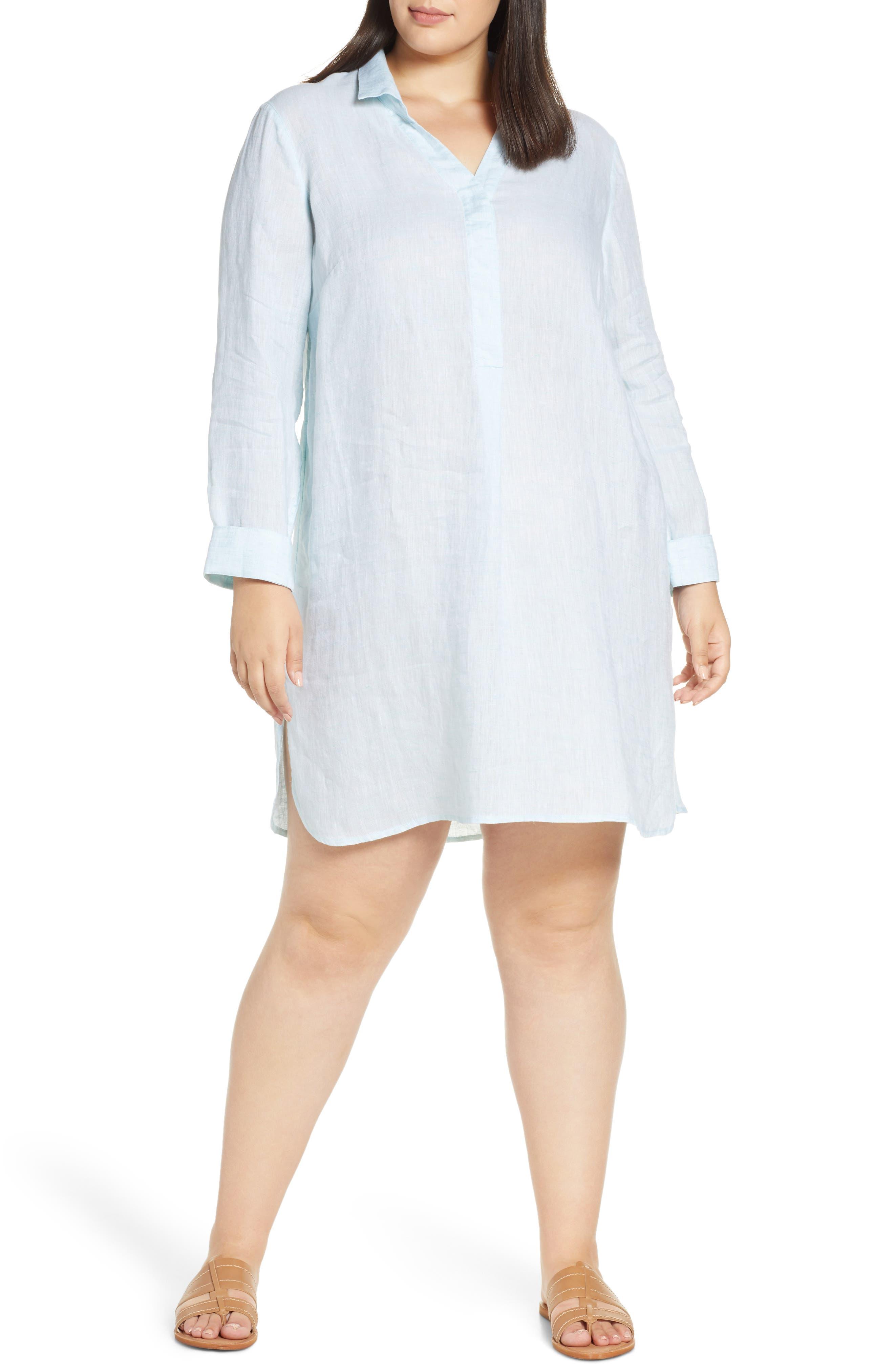 Plus Size Nic+Zoe Springtime Long Sleeve Linen Tunic, Blue