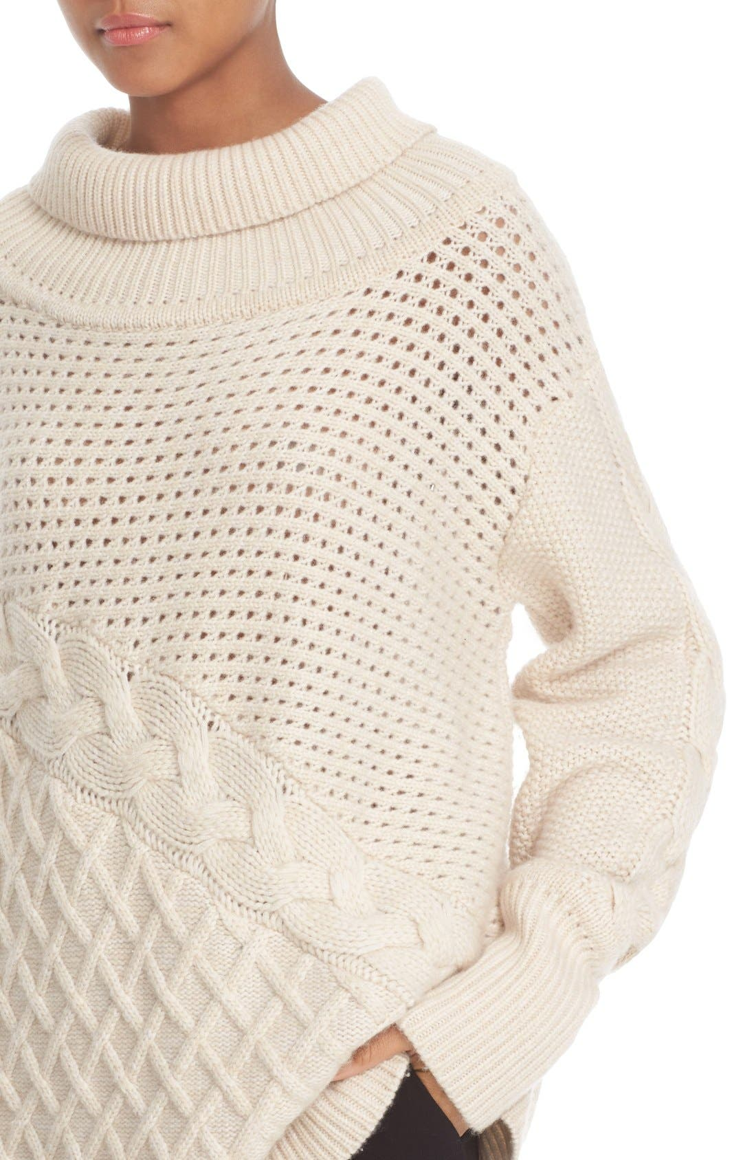 PRABAL GURUNG, Cable Knit Cashmere Sweater, Alternate thumbnail 3, color, 904