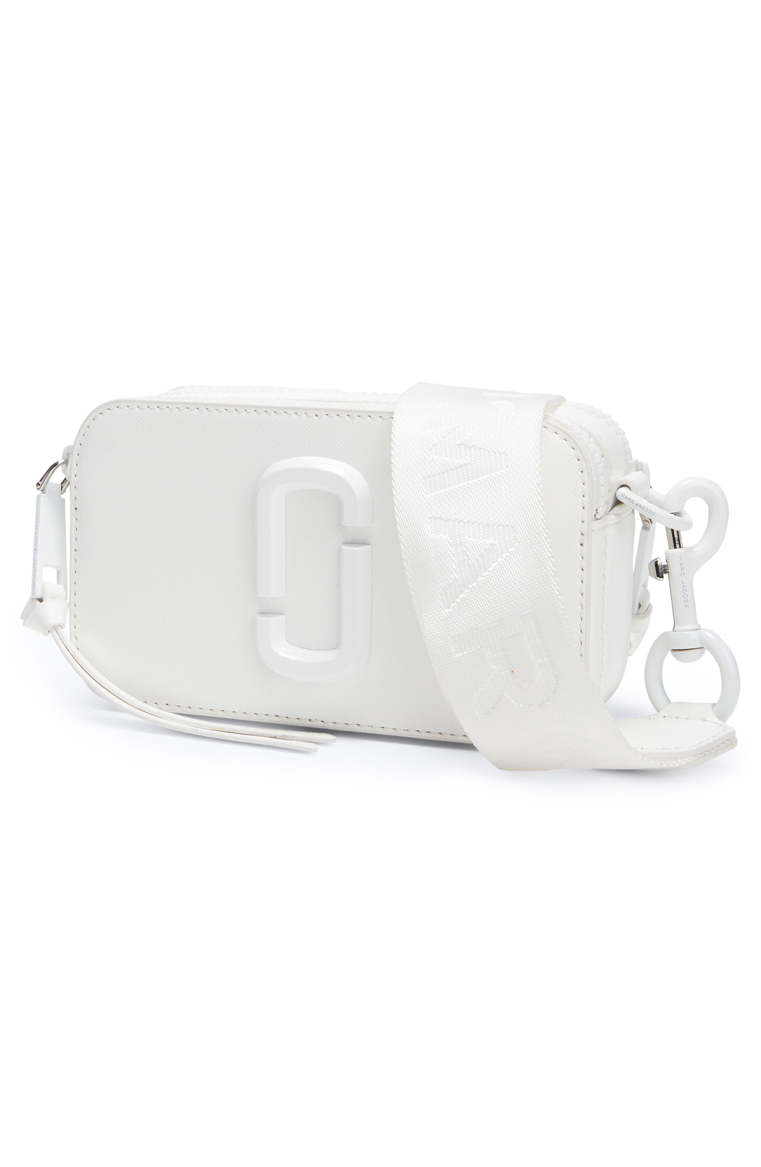 MARC JACOBS, Snapshot Leather Crossbody Bag, Alternate thumbnail 5, color, MOON WHITE