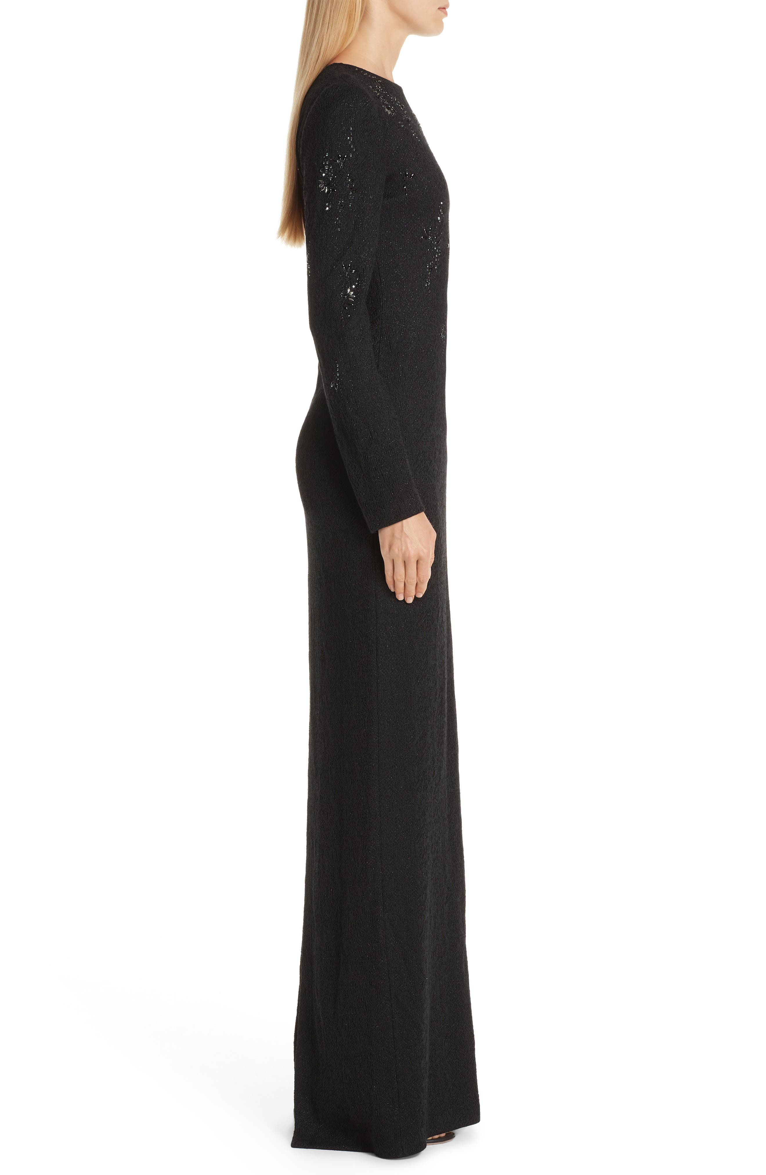 ST. JOHN COLLECTION, Lace Overlay Jacquard Knit Gown, Alternate thumbnail 3, color, CAVIAR