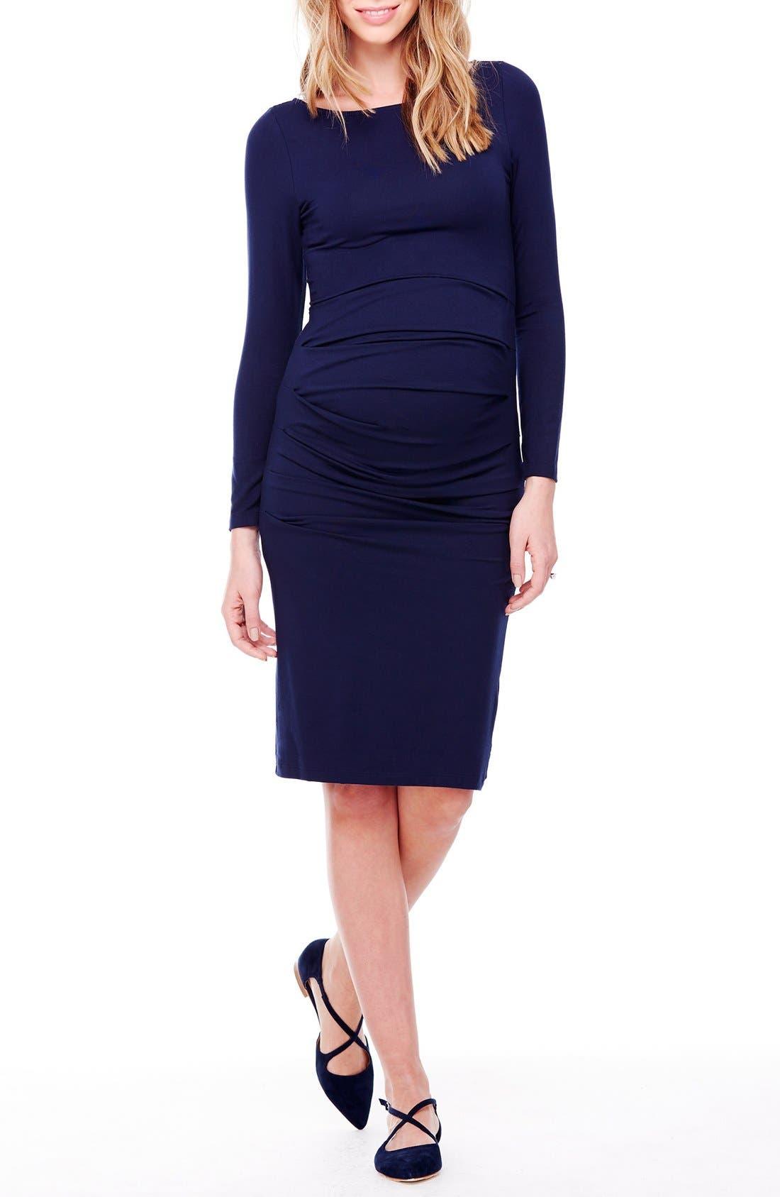 INGRID & ISABEL<SUP>®</SUP>, Shirred Maternity Dress, Main thumbnail 1, color, TRUE NAVY