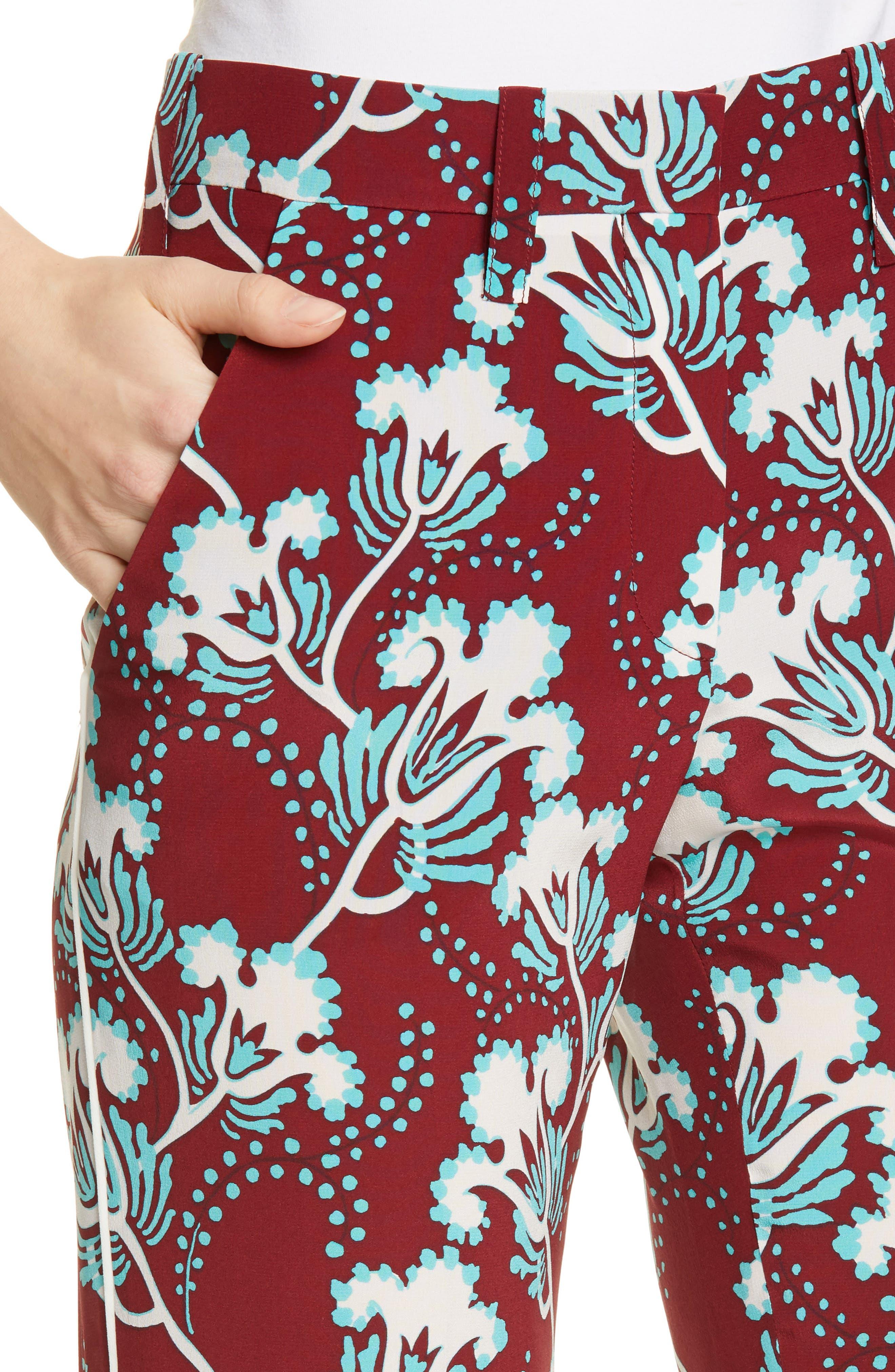 VALENTINO, Elderflower Print Wide Leg Silk Pants, Alternate thumbnail 4, color, GTB-GARNET/TURCHESE/BIANCO