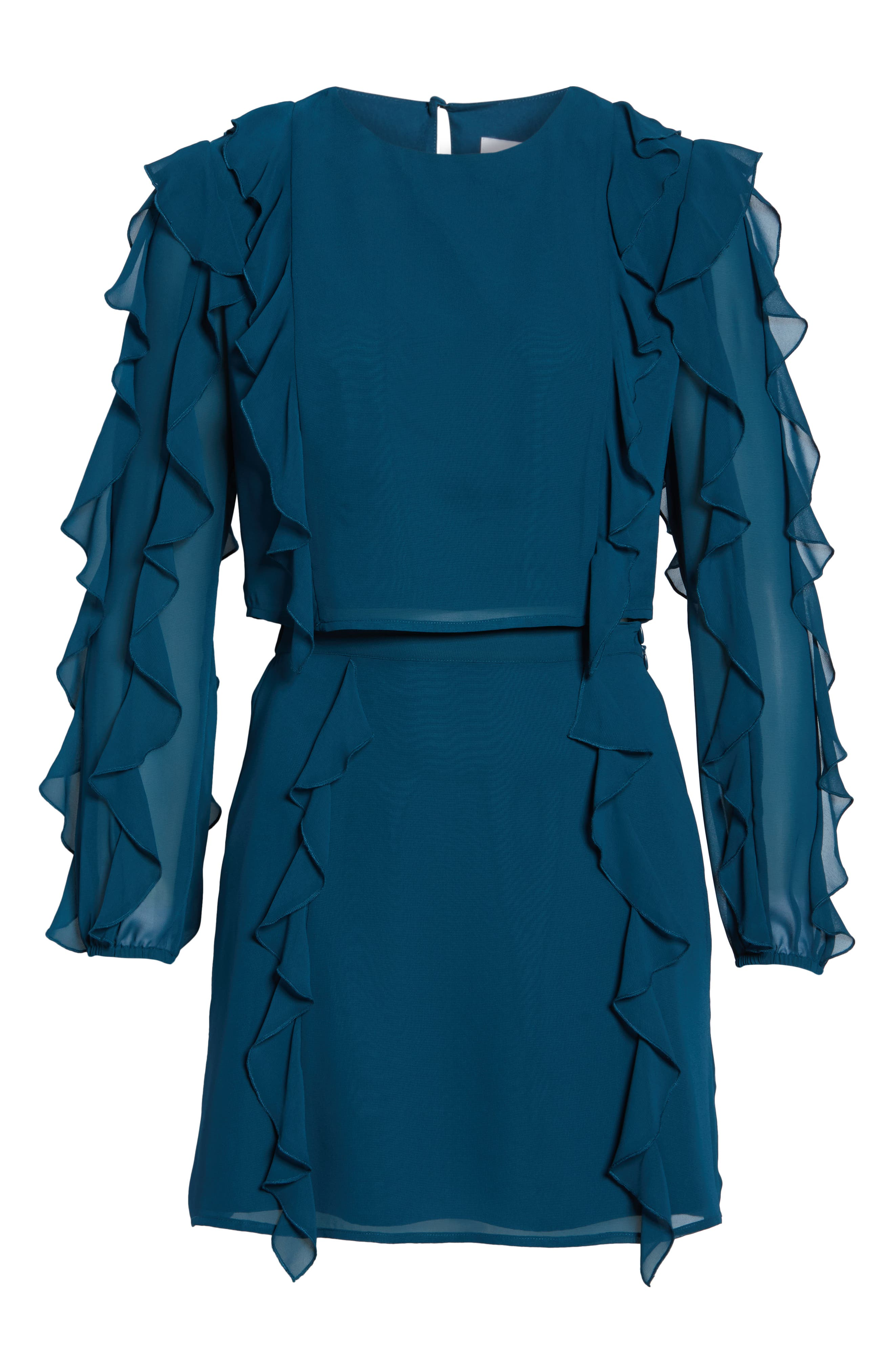 ALI & JAY, A Girl Can Dream Two-Piece Ruffle Trim Dress, Alternate thumbnail 6, color, TEAL