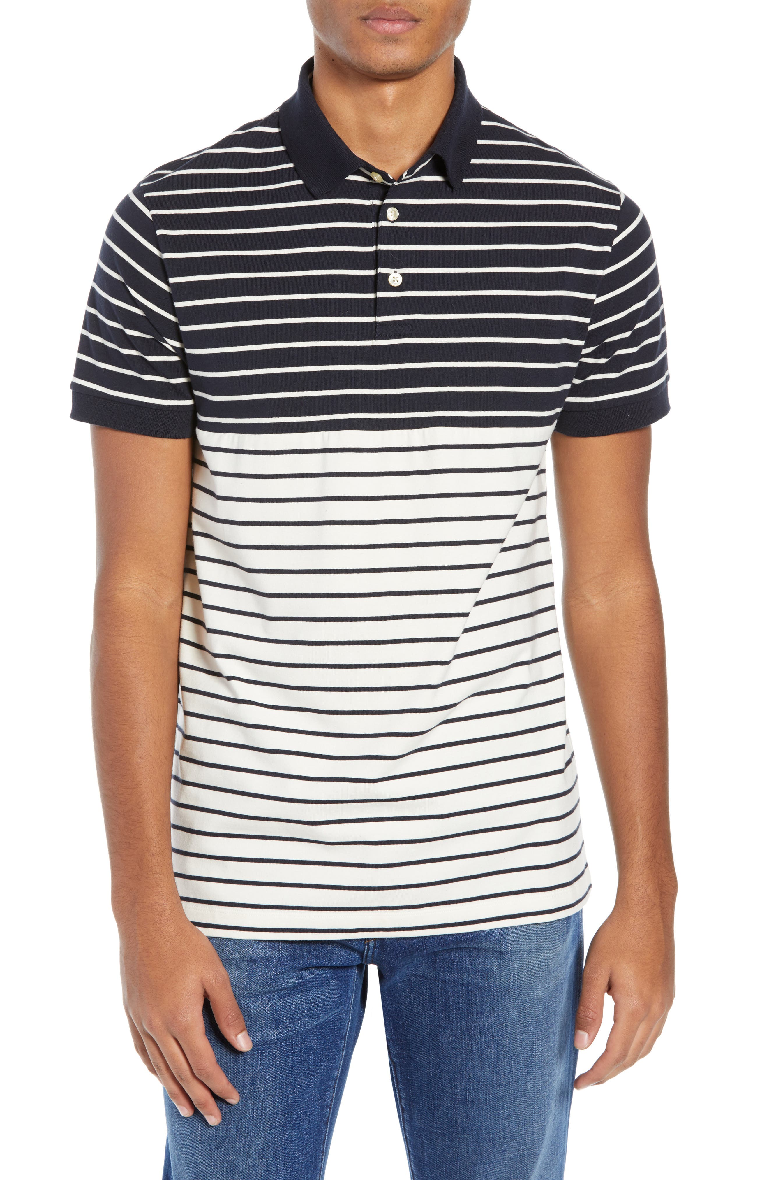 FRENCH CONNECTION, Tim Regular Fit Stripe Polo, Main thumbnail 1, color, UTILITY BLUE CREAM