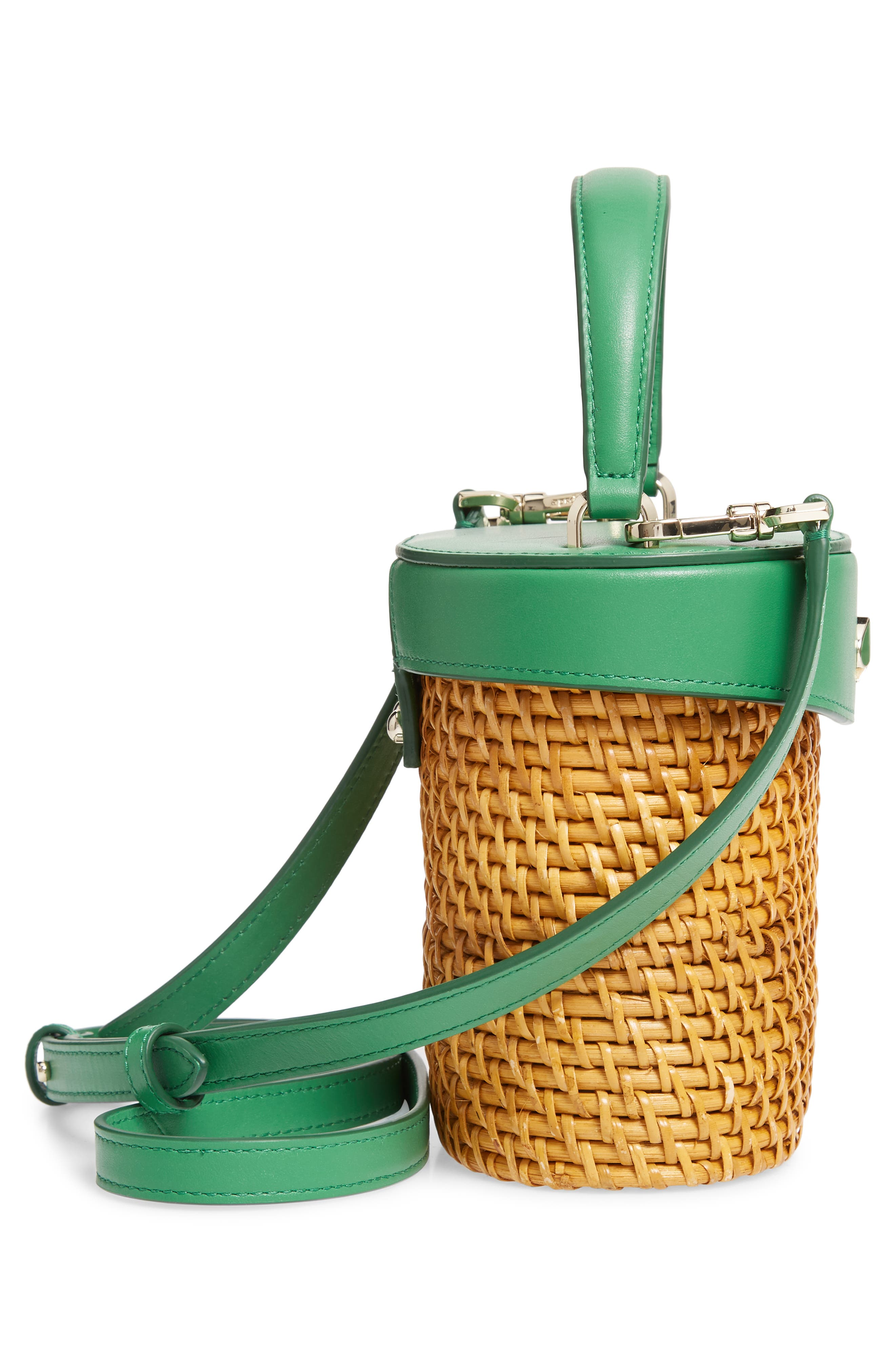 KATE SPADE NEW YORK, mini rose rattan bucket bag, Alternate thumbnail 5, color, GREEN BEAN