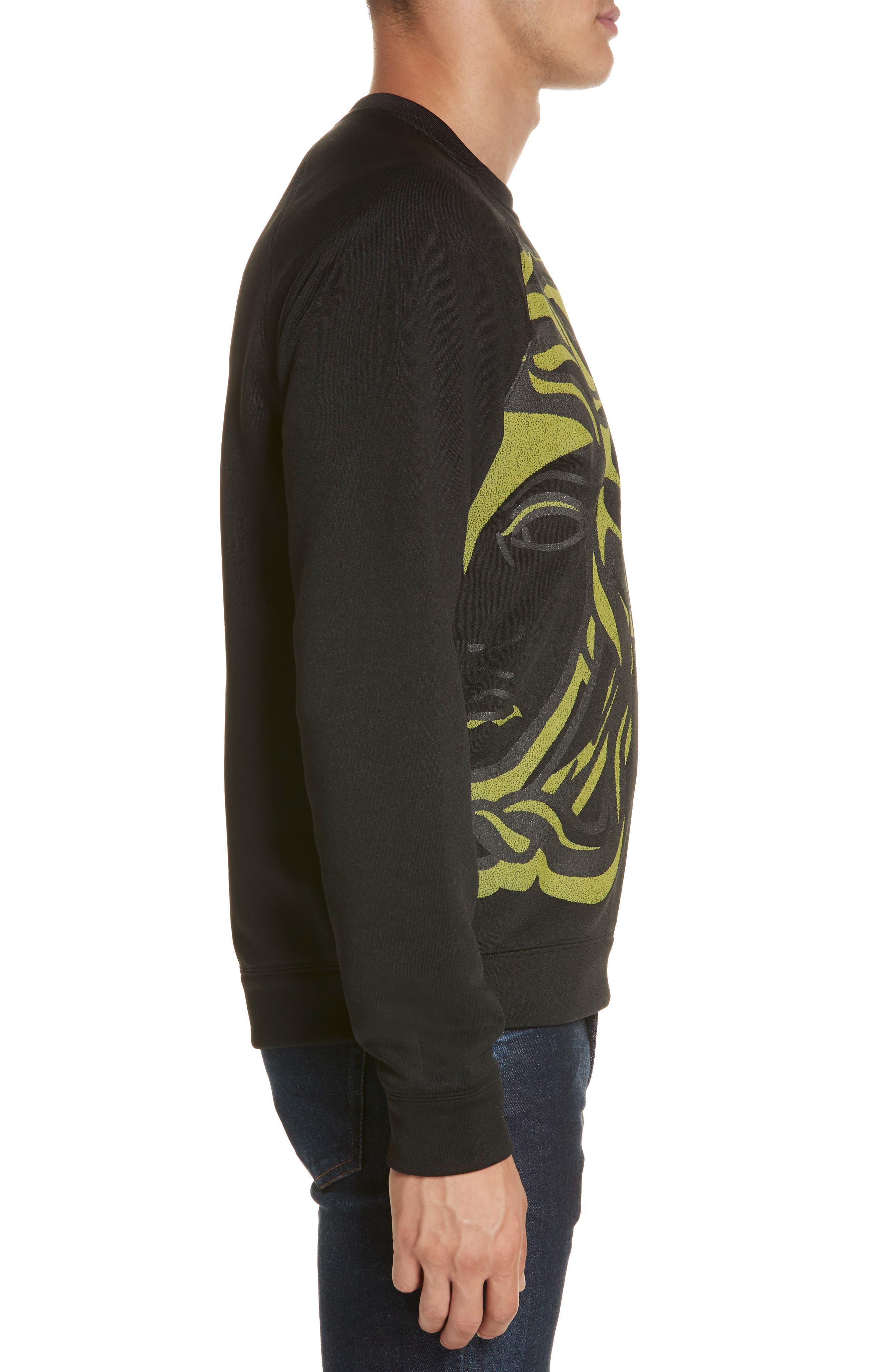 VERSACE COLLECTION, Medusa Print Sweatshirt, Alternate thumbnail 3, color, BLACK/ PAINT