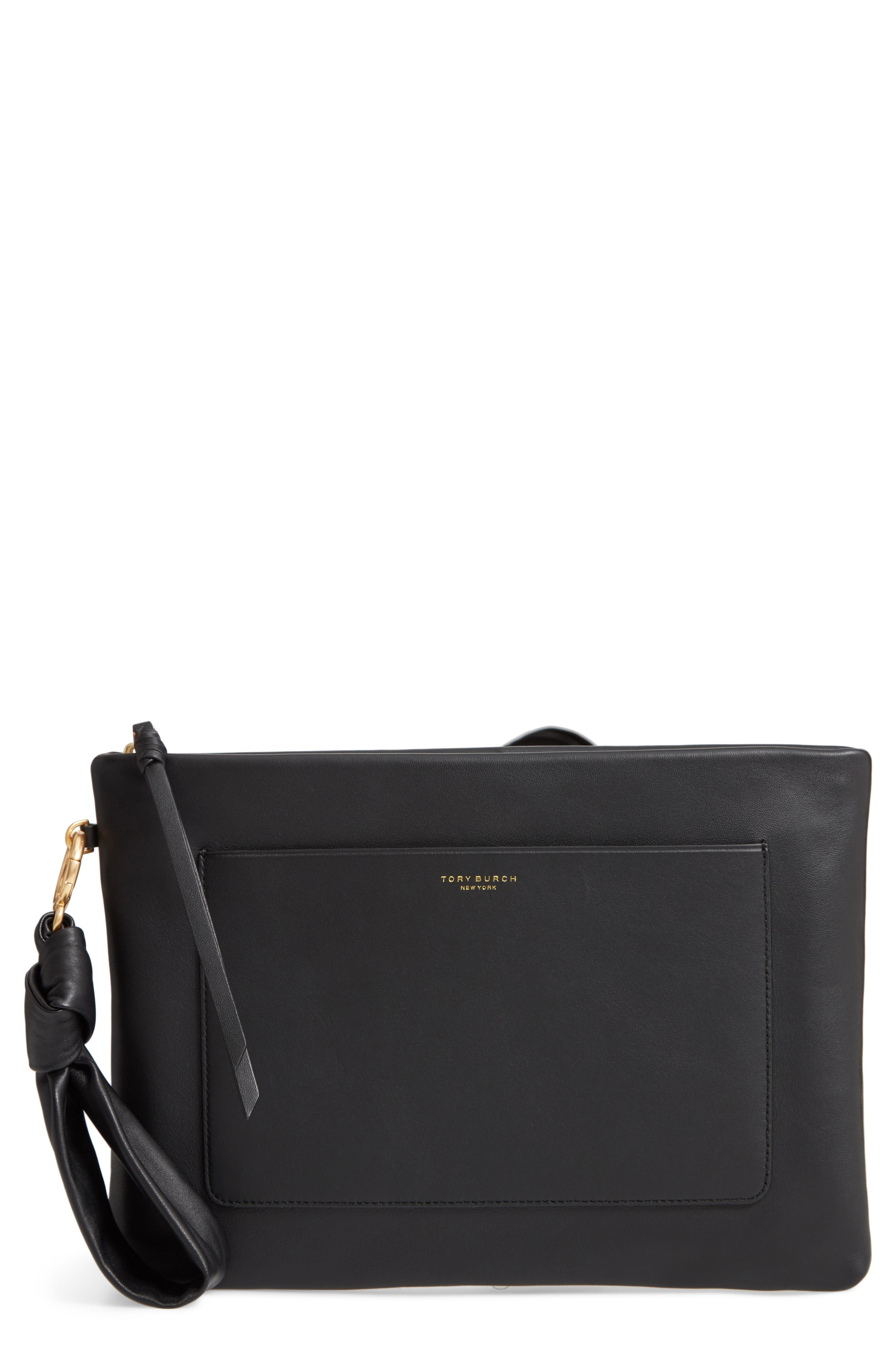 TORY BURCH Beau Leather Pouch, Main, color, BLACK