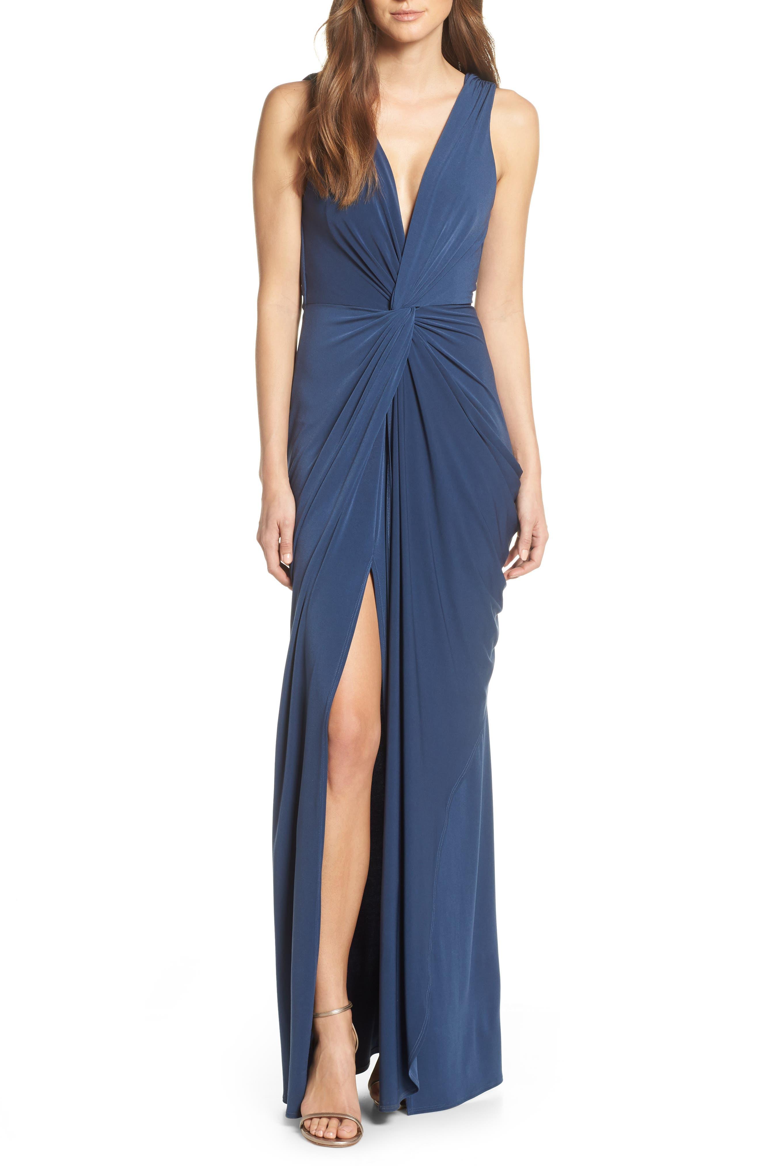 KATIE MAY, Leo Twist Front Evening Dress, Main thumbnail 1, color, DEEP SEA
