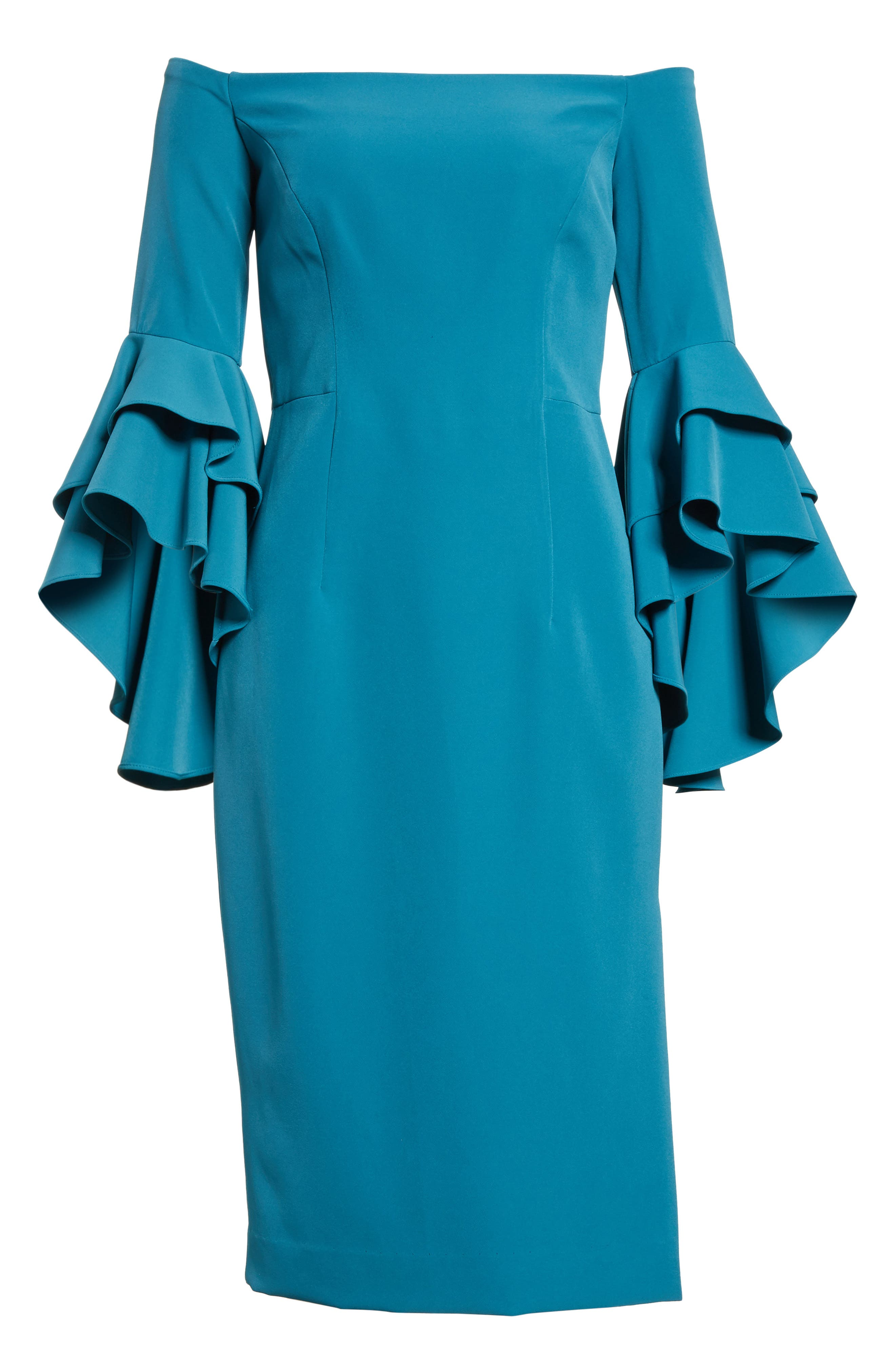 MILLY, Selena Off the Shoulder Midi Dress, Alternate thumbnail 6, color, 442