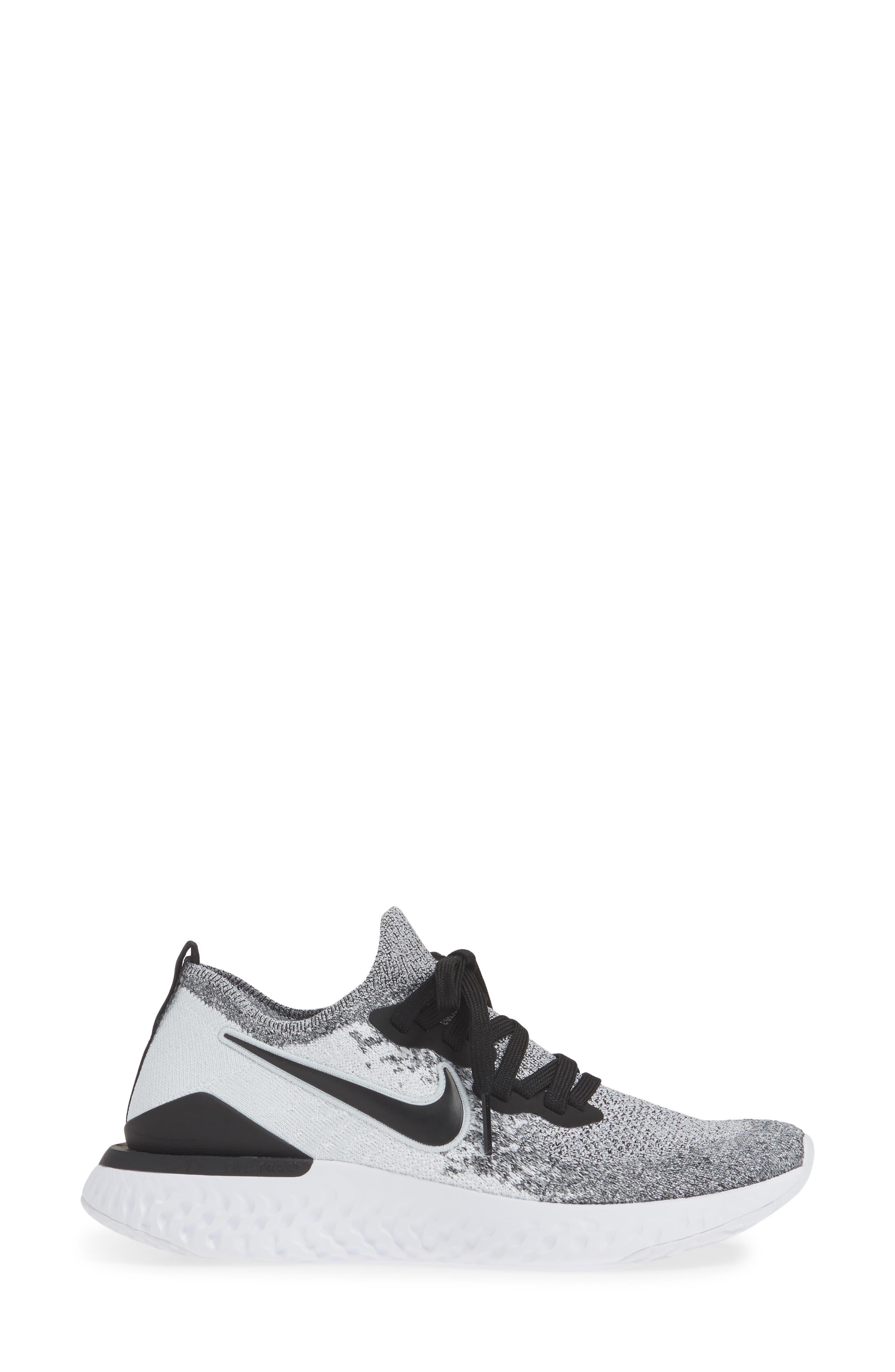 NIKE, Epic React Flyknit 2 Running Shoe, Alternate thumbnail 3, color, WHITE/ BLACK/ PURE PLATINUM