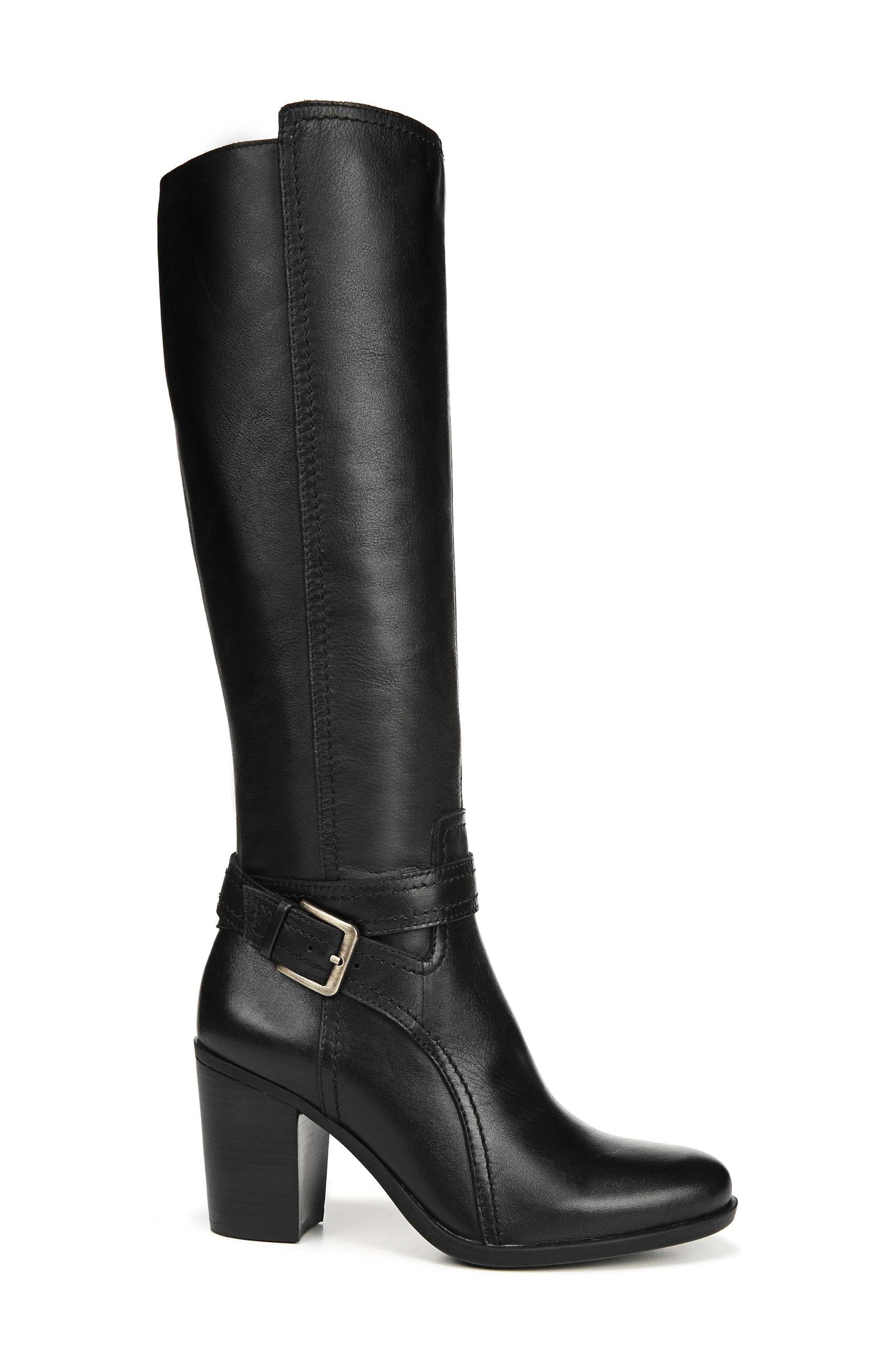 NATURALIZER, Kelsey Knee High Boot, Alternate thumbnail 3, color, BLACK LEATHER