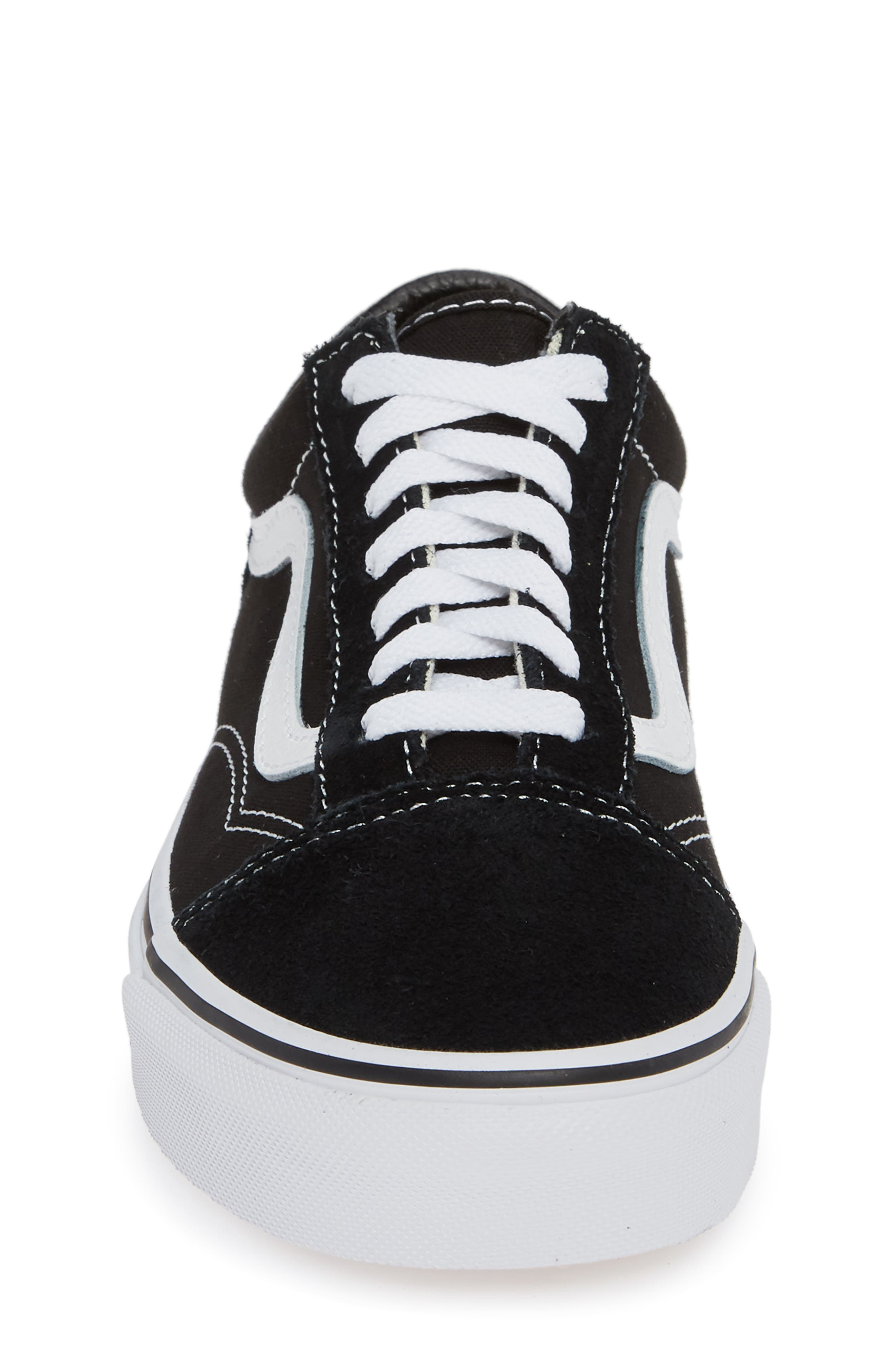 VANS, 'Old Skool' Skate Sneaker, Alternate thumbnail 4, color, BLACK/ WHITE SUEDE CANVAS