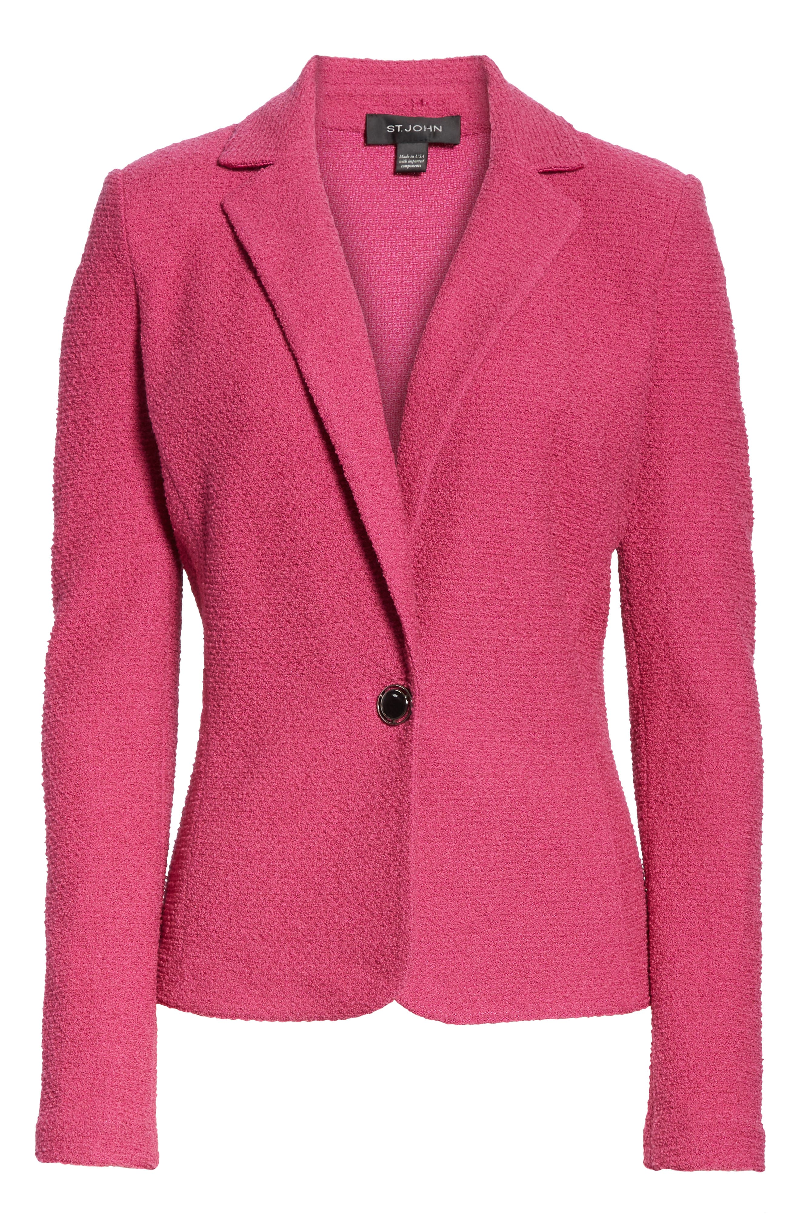 ST. JOHN COLLECTION, Refined Knit Jacket, Alternate thumbnail 6, color, CAMELLIA