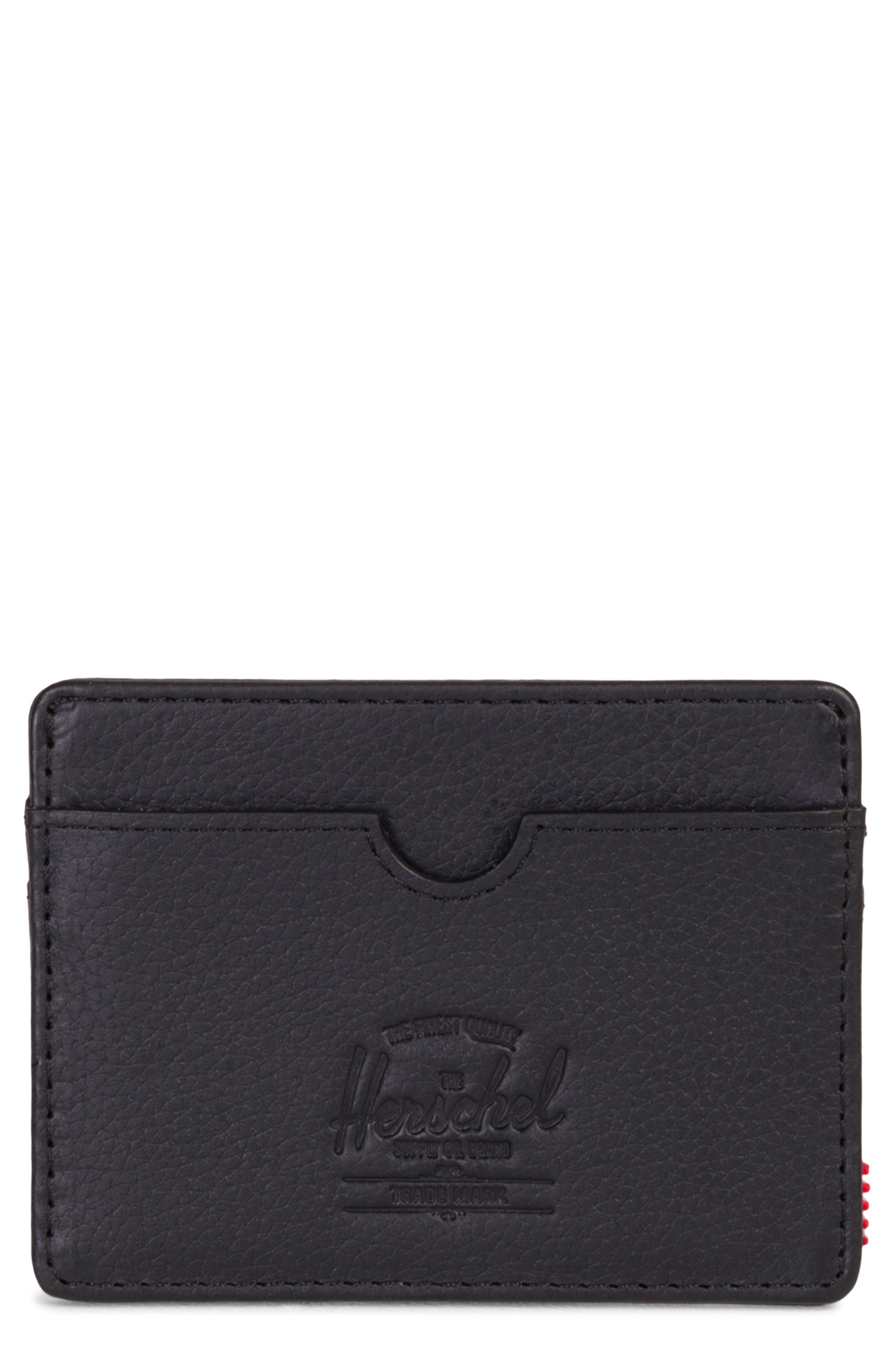 HERSCHEL SUPPLY CO. Charlie Leather RFID Card Case, Main, color, BLACK PEBBLED LEATHER