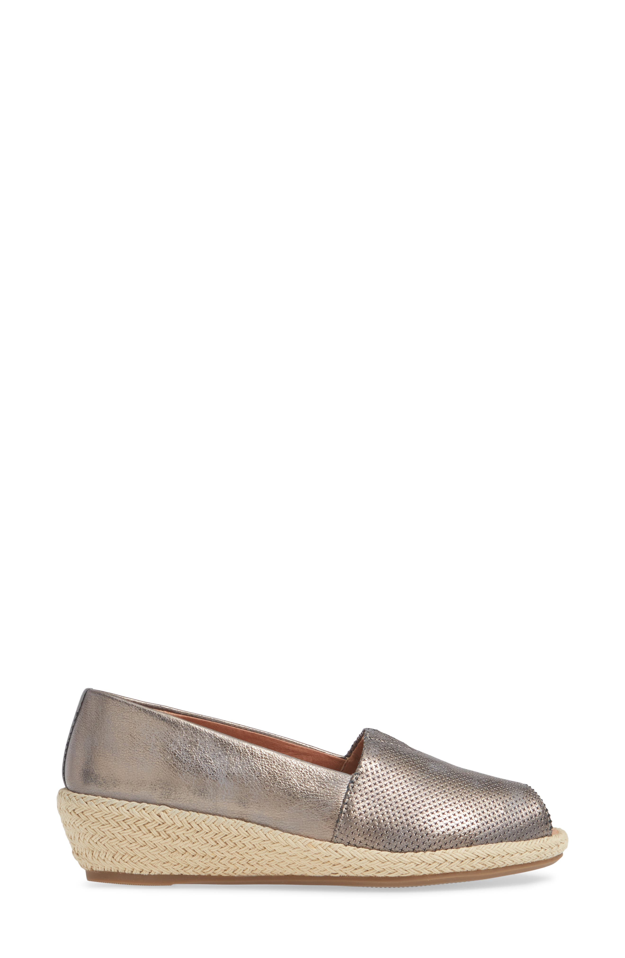 GENTLE SOULS BY KENNETH COLE, Luca Open Toe Wedge Espadrille, Alternate thumbnail 3, color, PEWTER METALLIC LEATHER