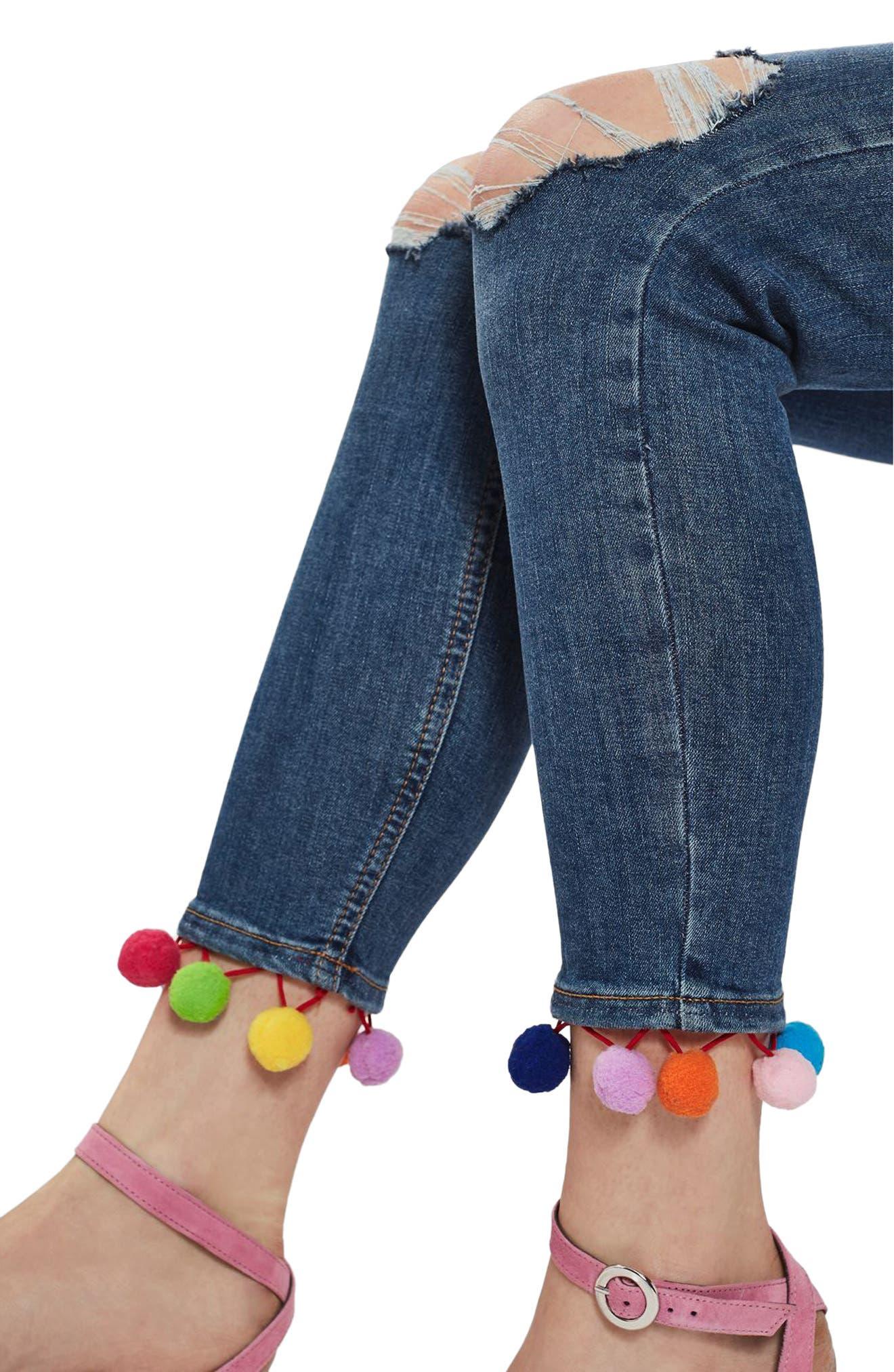 TOPSHOP, Jamie Pompom Skinny Jeans, Alternate thumbnail 3, color, 400