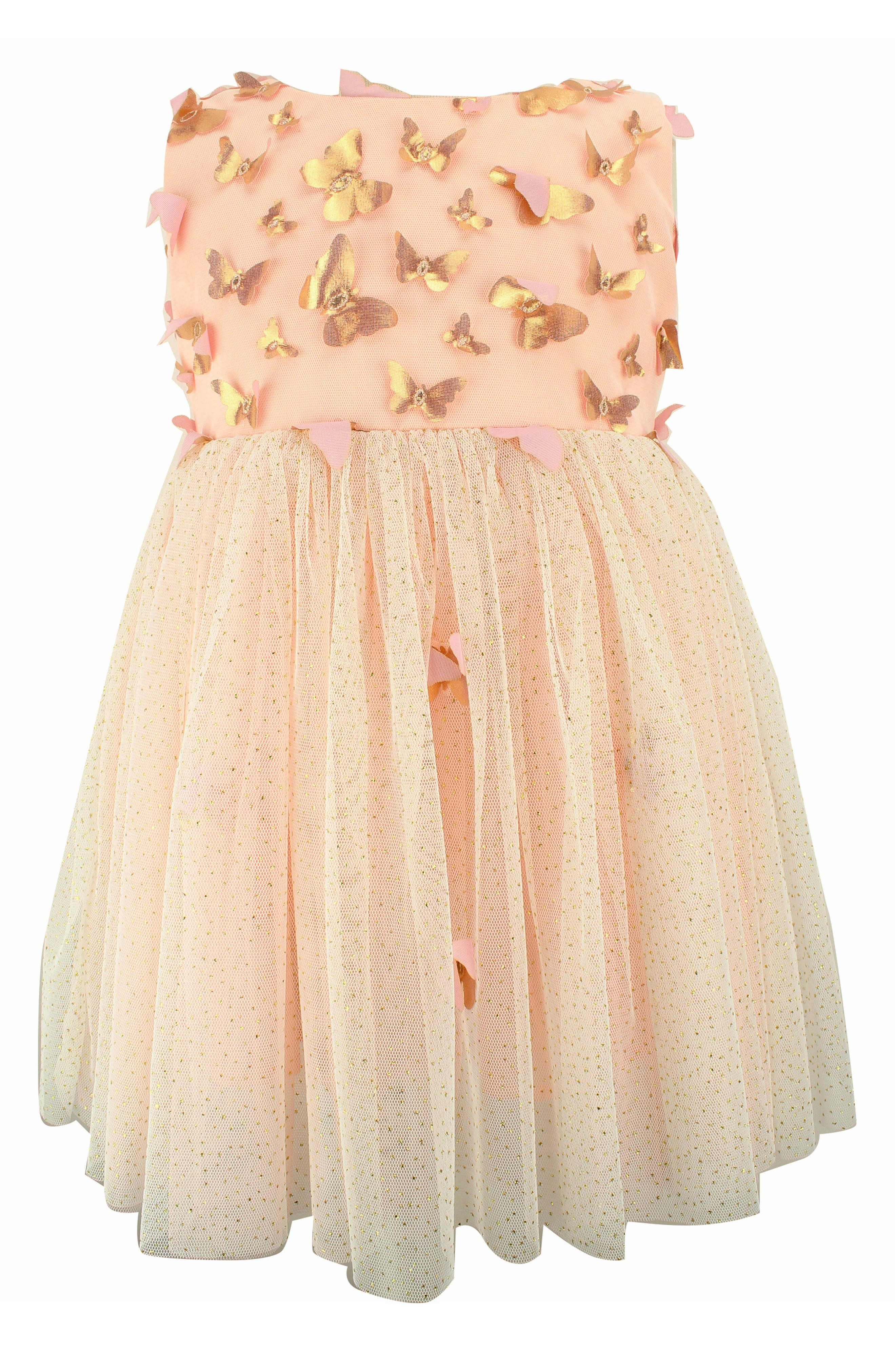 POPATU Butterfly Appliqué Tulle Dress, Main, color, DUSTY PINK