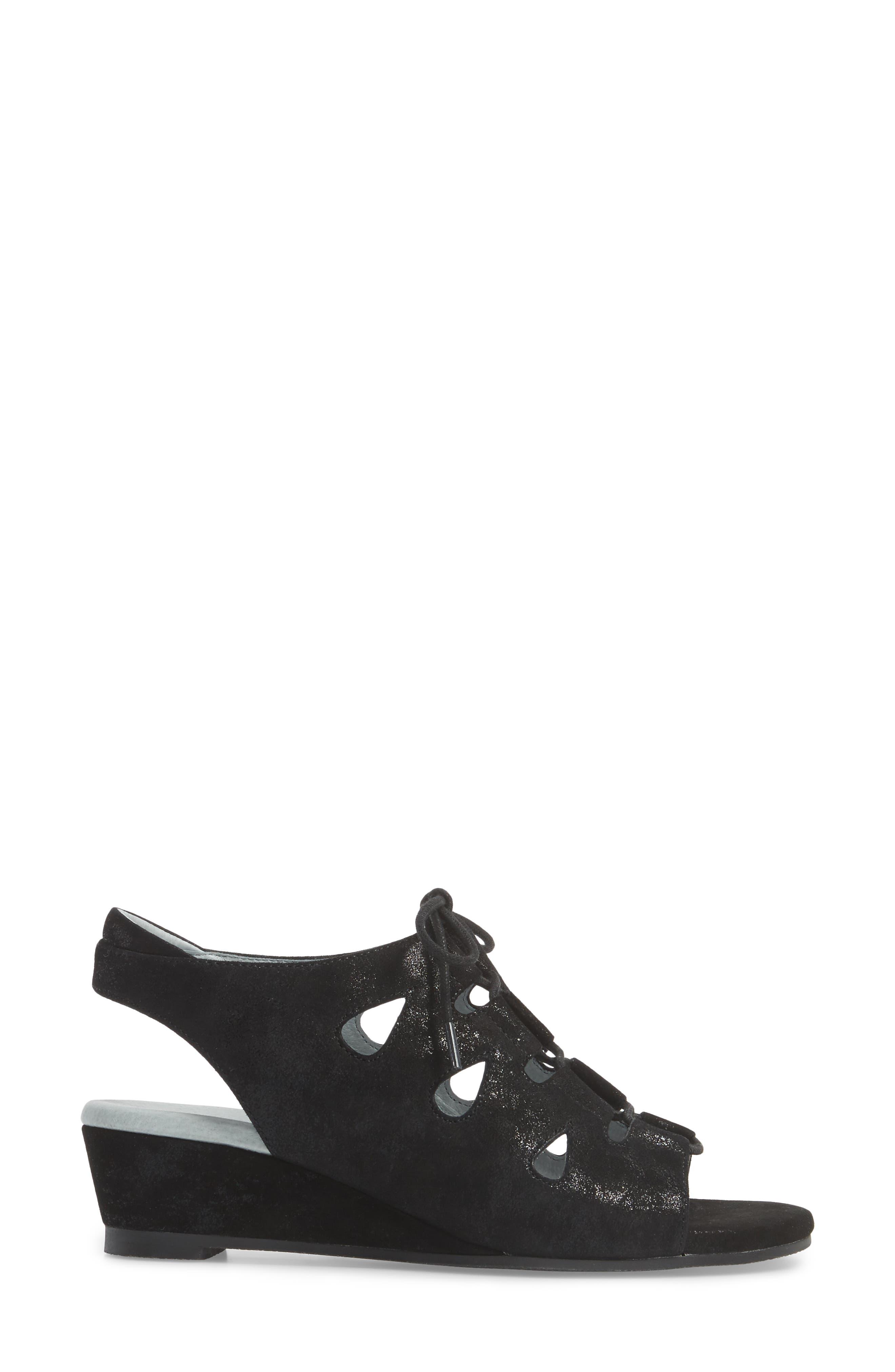 DAVID TATE, Rich Wedge Sandal, Alternate thumbnail 3, color, BLACK SUEDE