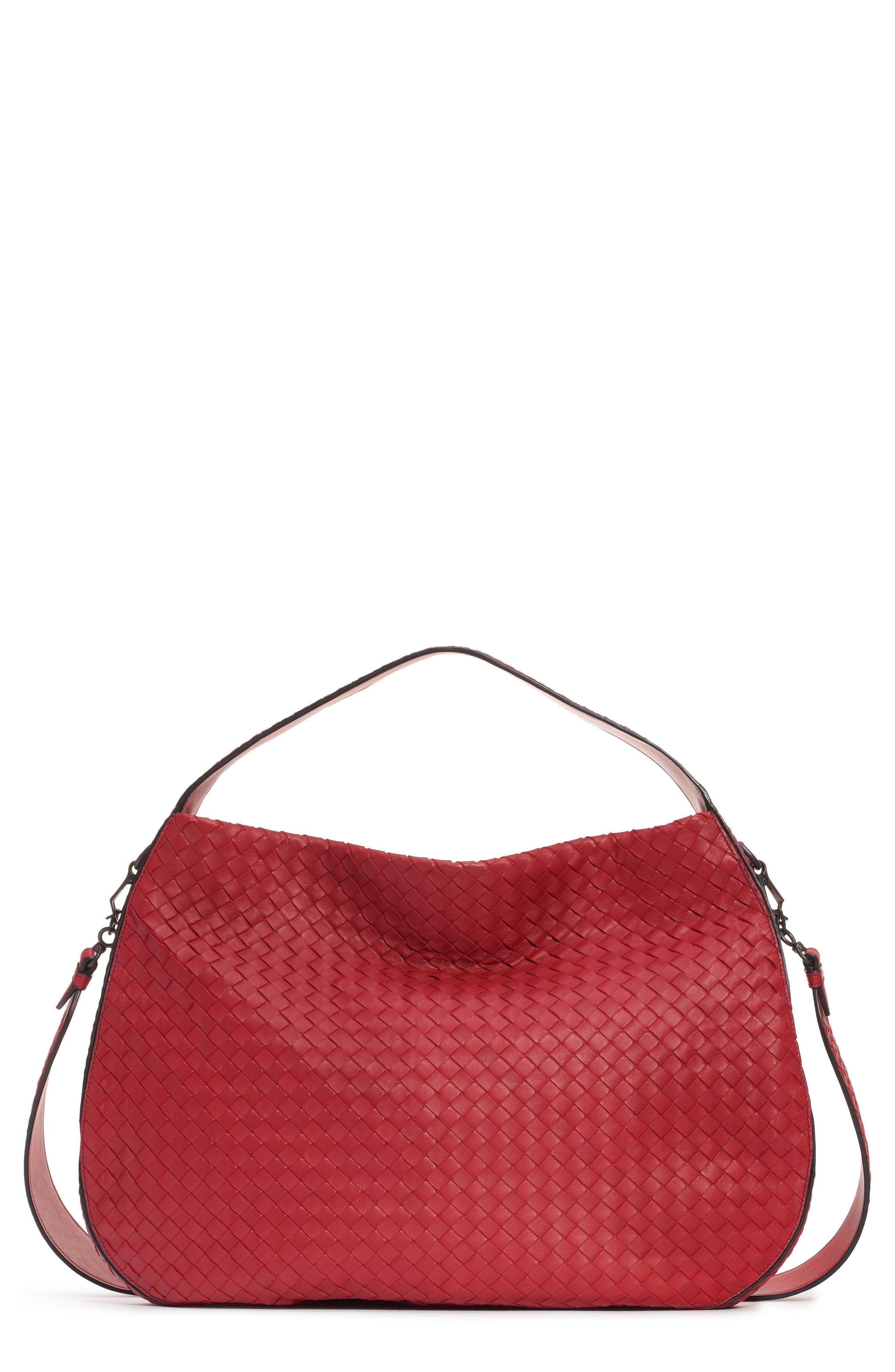 BOTTEGA VENETA, City Veneta Shoulder Bag, Main thumbnail 1, color, BACCARA RED-NERO/ BRUNITO