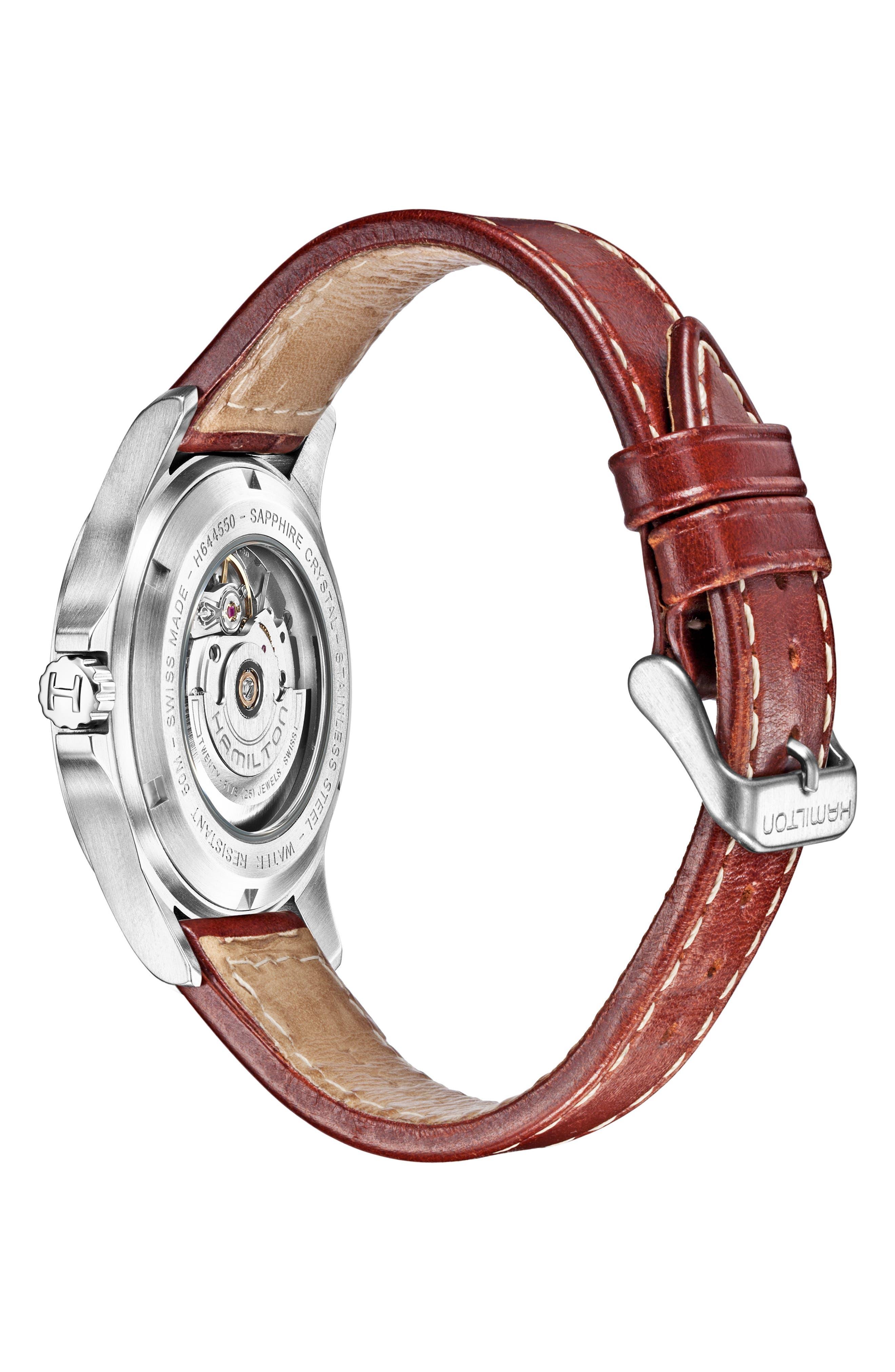 HAMILTON, Khaki King Automatic Leather Strap Watch, 40mm, Alternate thumbnail 2, color, BROWN/ BLACK/ SILVER