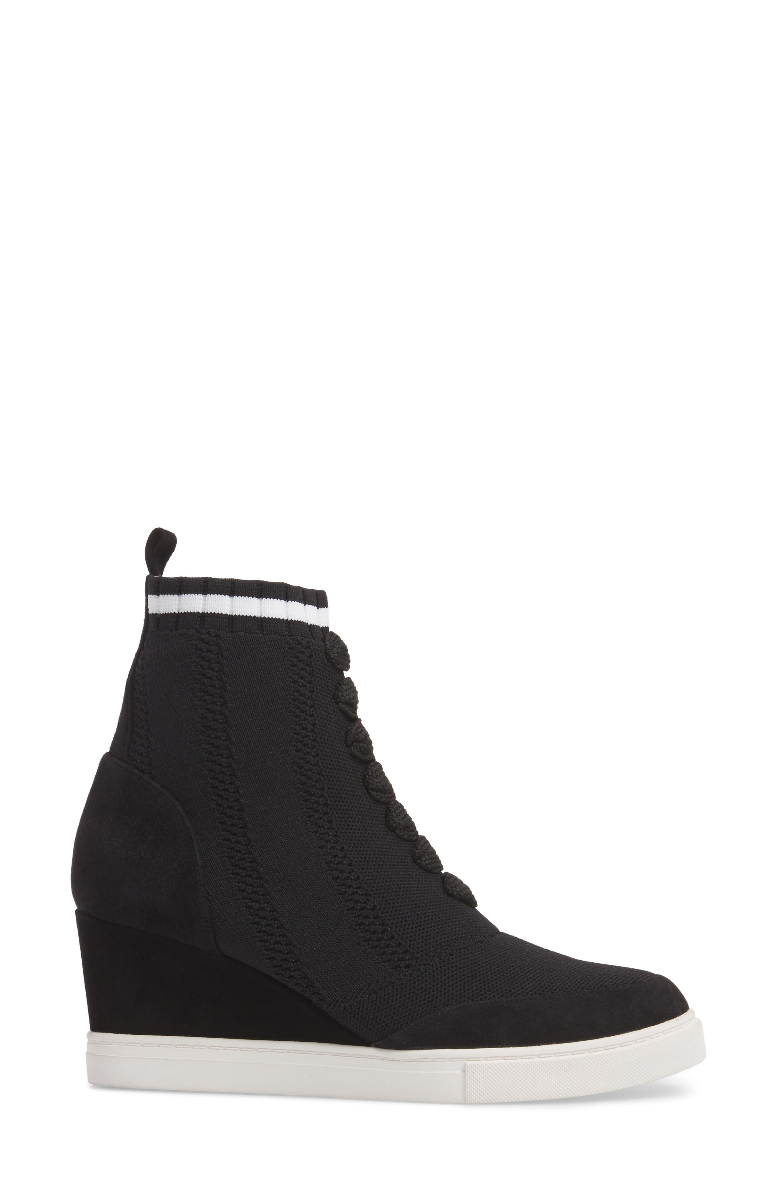 LINEA PAOLO, Fabiana Wedge Sneaker, Alternate thumbnail 3, color, BLACK SUEDE