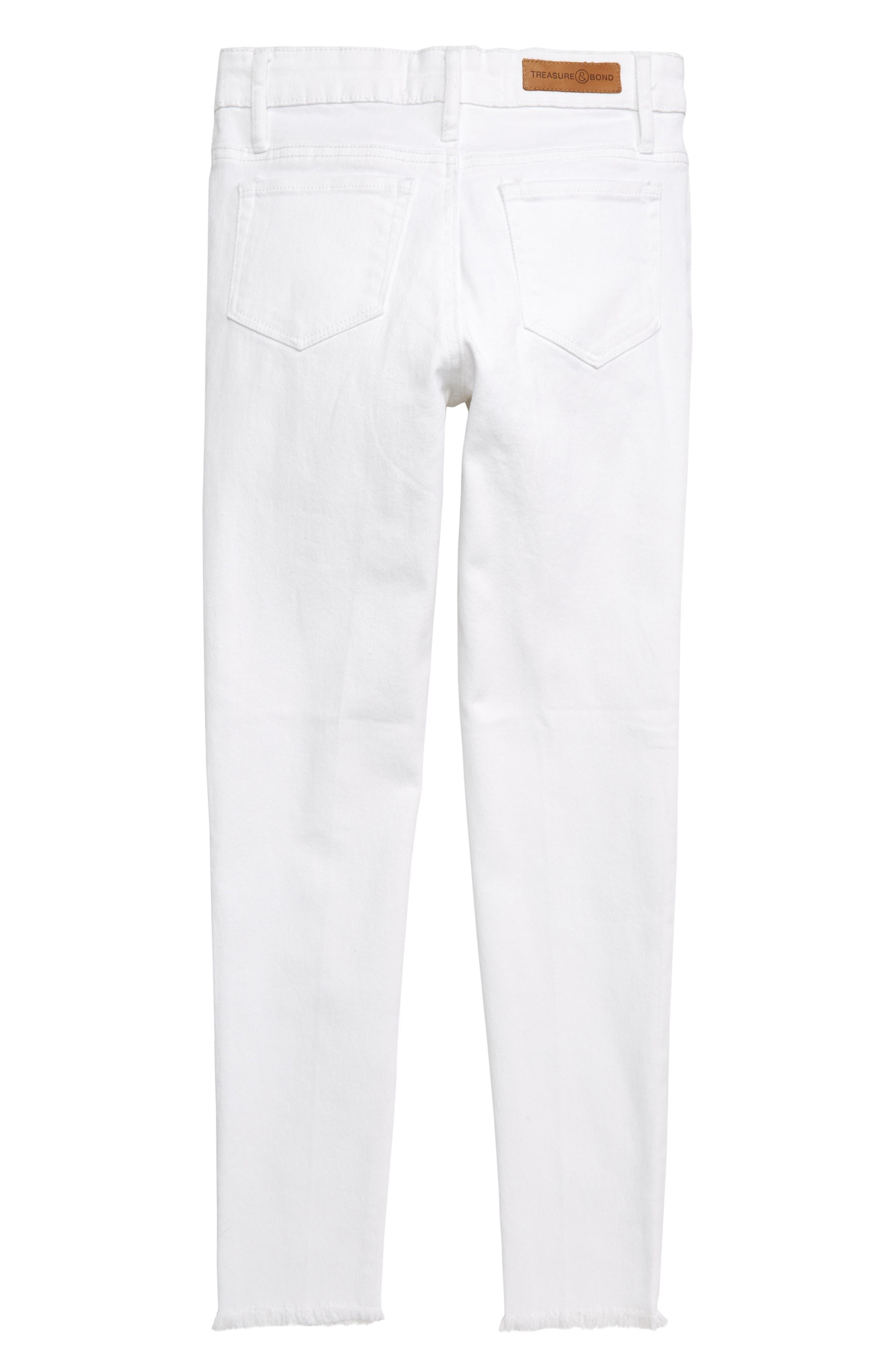 TREASURE & BOND, Distressed Skinny Jeans, Alternate thumbnail 2, color, WHITE